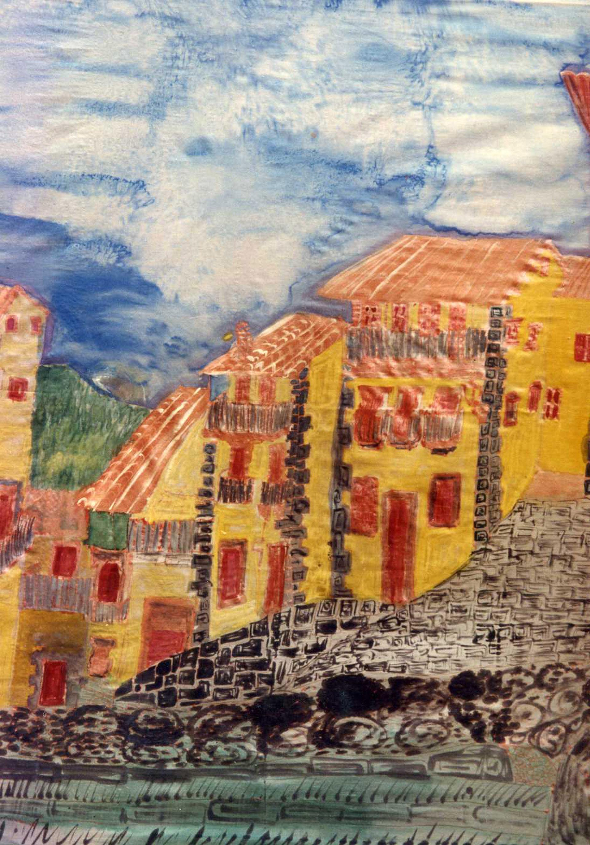 "Pañuelo ""La cuesta de la Romana. Candelario"" pongé 90 x 90 cm"
