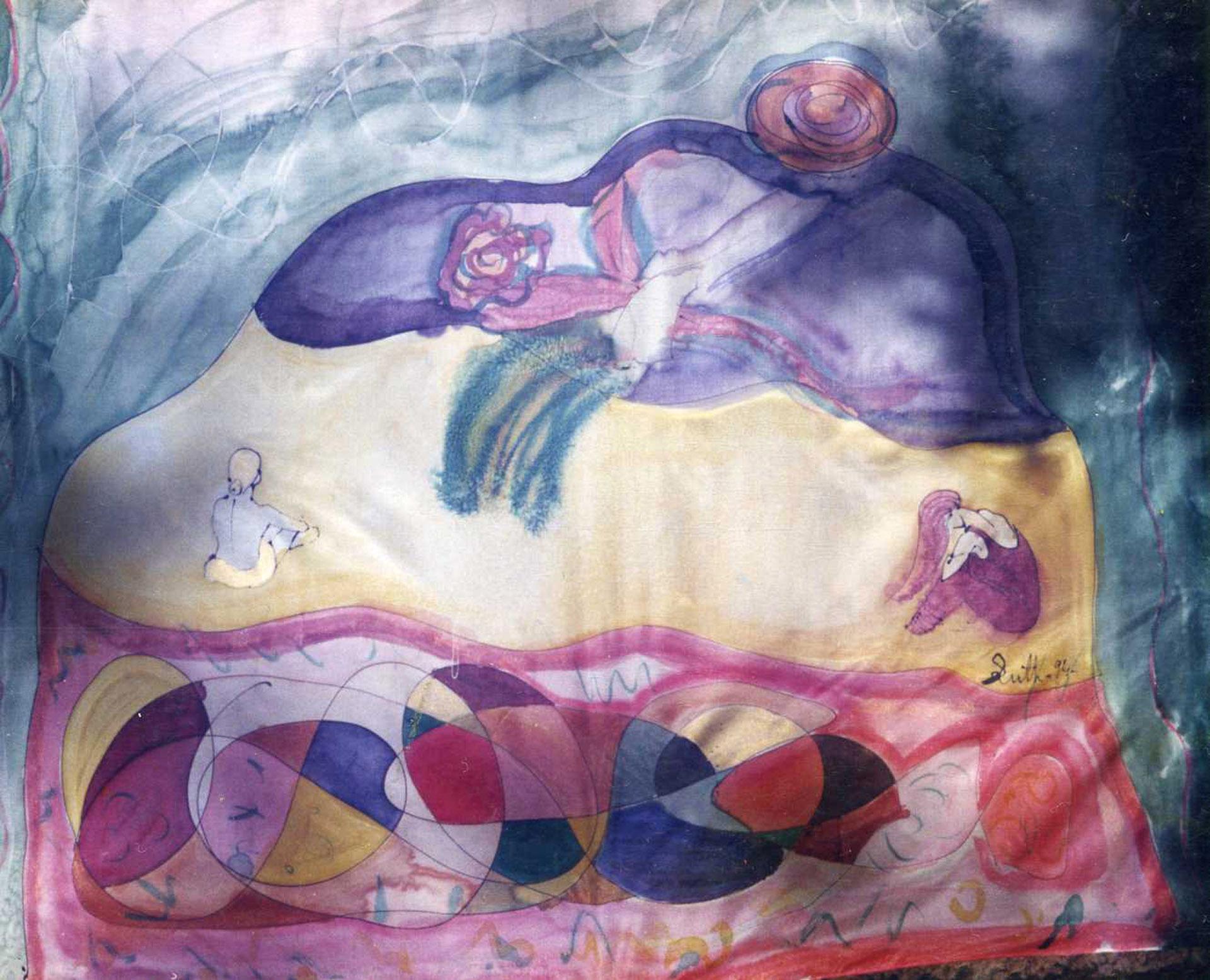 "Pañuelo ""Homenaje a Miró"" pongé 90 x 90 cm"