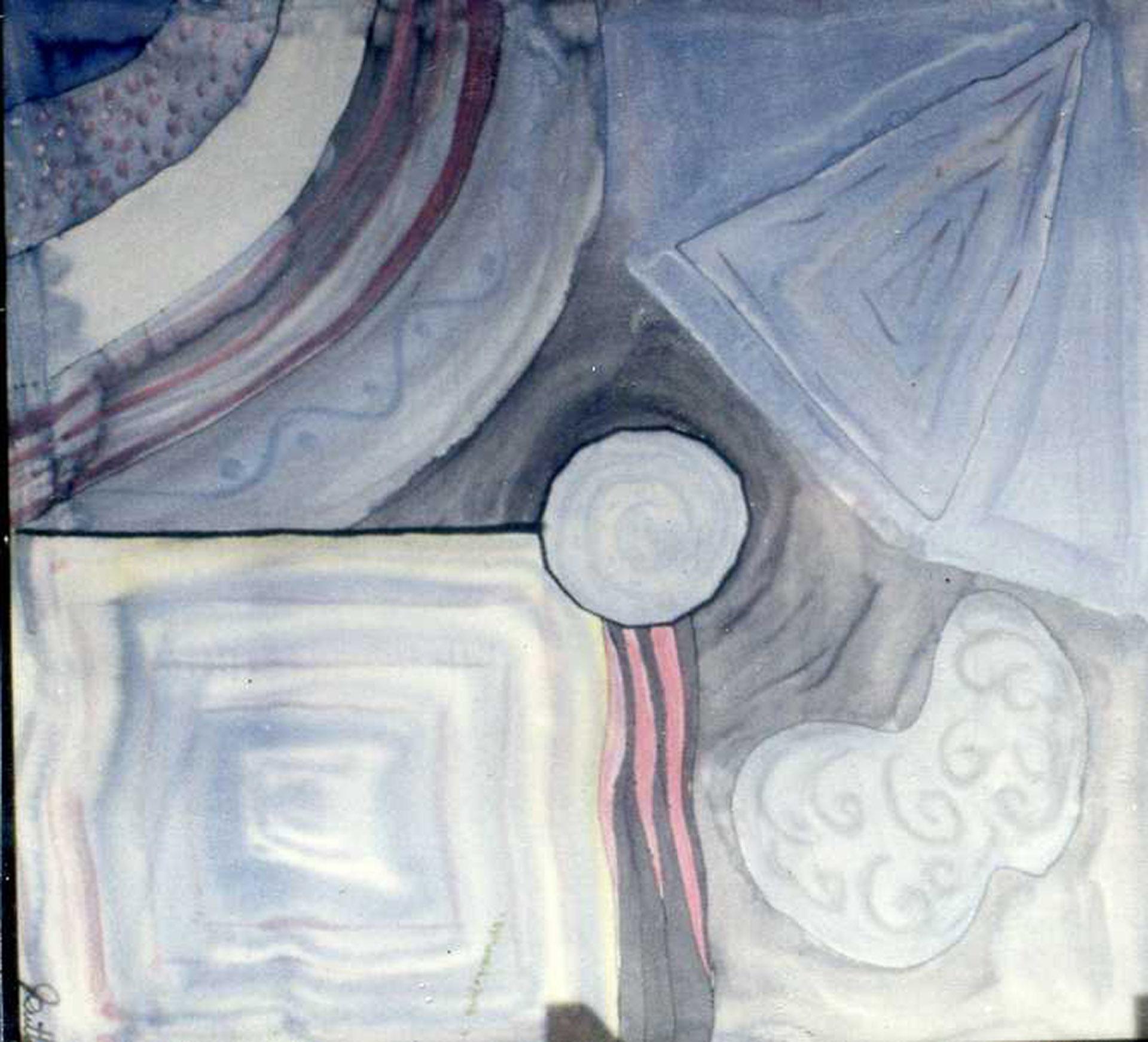 "Pañuelo ""Geometria azul"" pongé 90 x 90 cm"