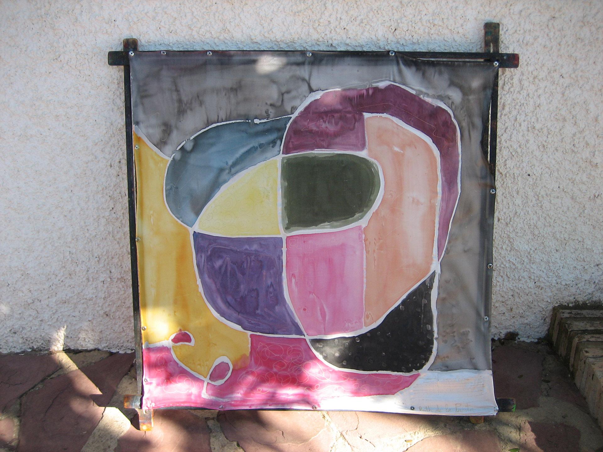 """Pañuelo  """"Abstracción mironiana"""" crepe satén 90 x 90 cm"""