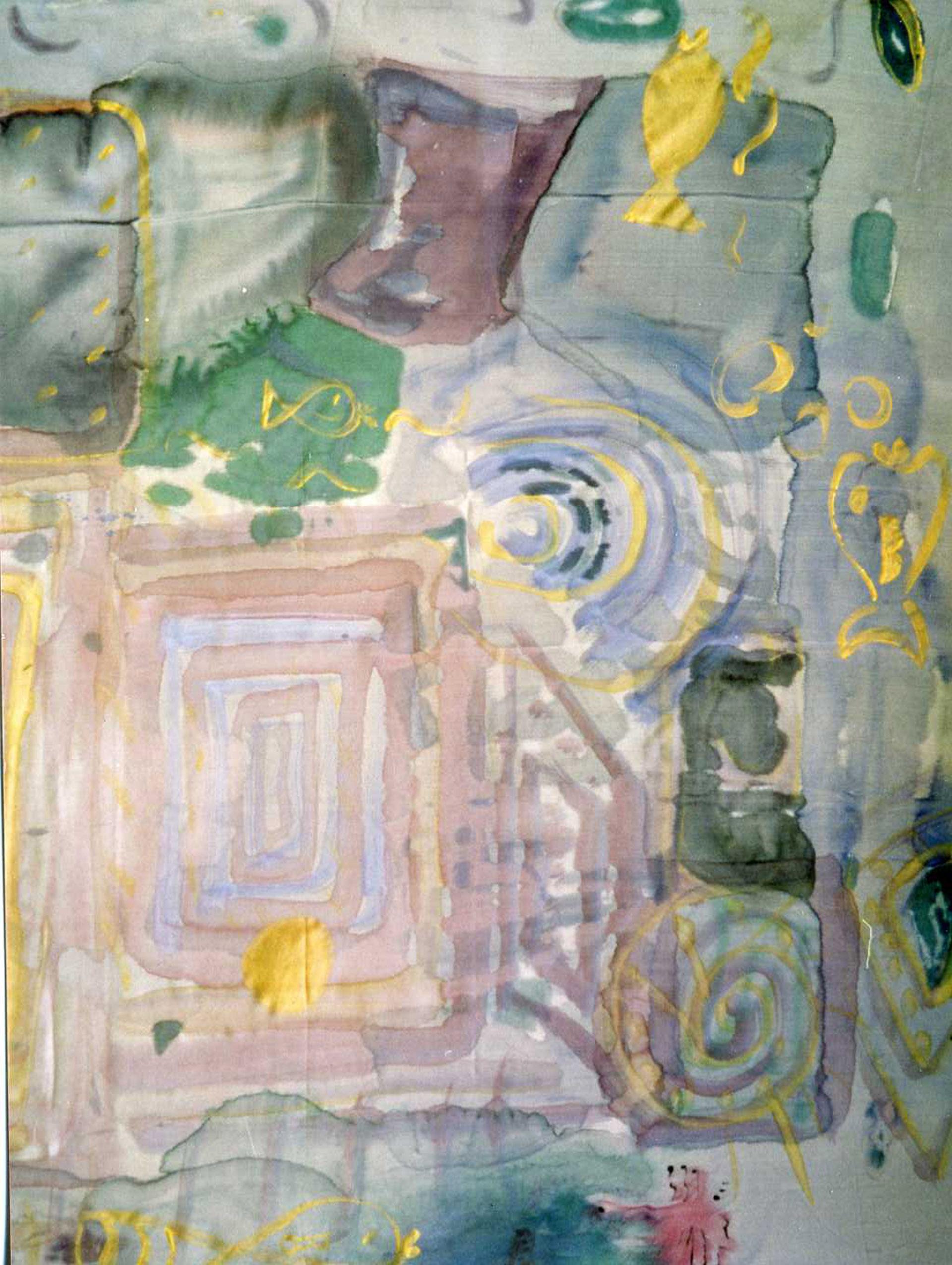 """Pañuelo """"Manchas rosa y azul"""" pongé 90 x 90 cm"""