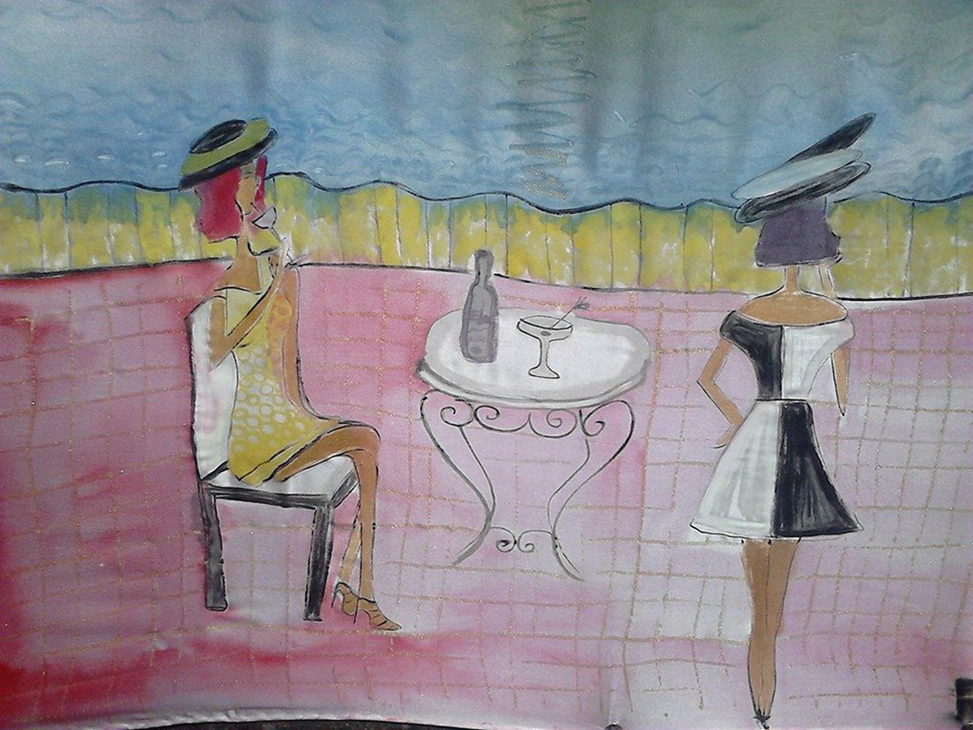 """Detalle """"Puesta de sol en Ibiza"""". Detalle. Crepe satén 90 x 90 cm"""