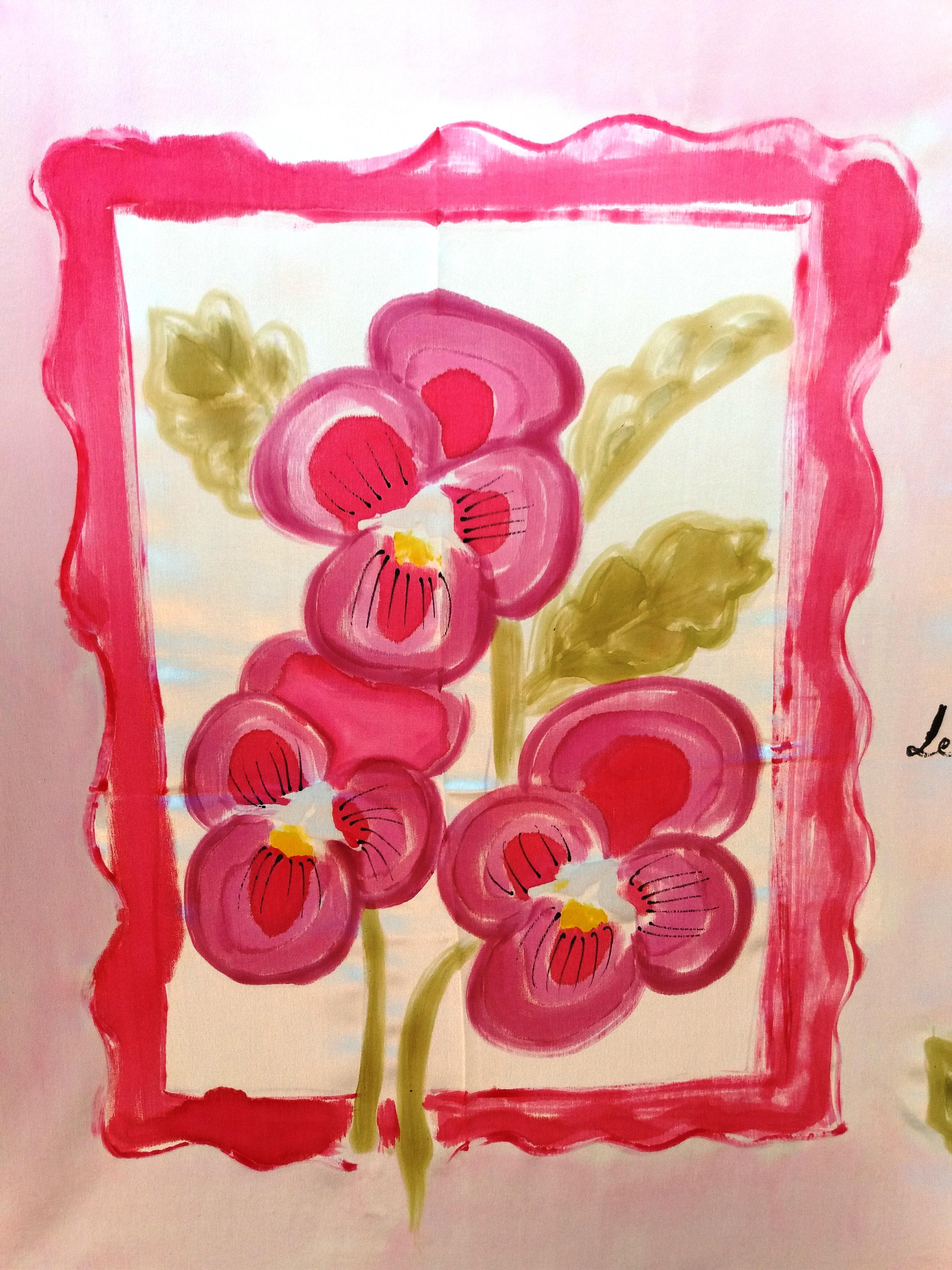 Detalle de la flor del pensamiento pintado en seda crepe satén