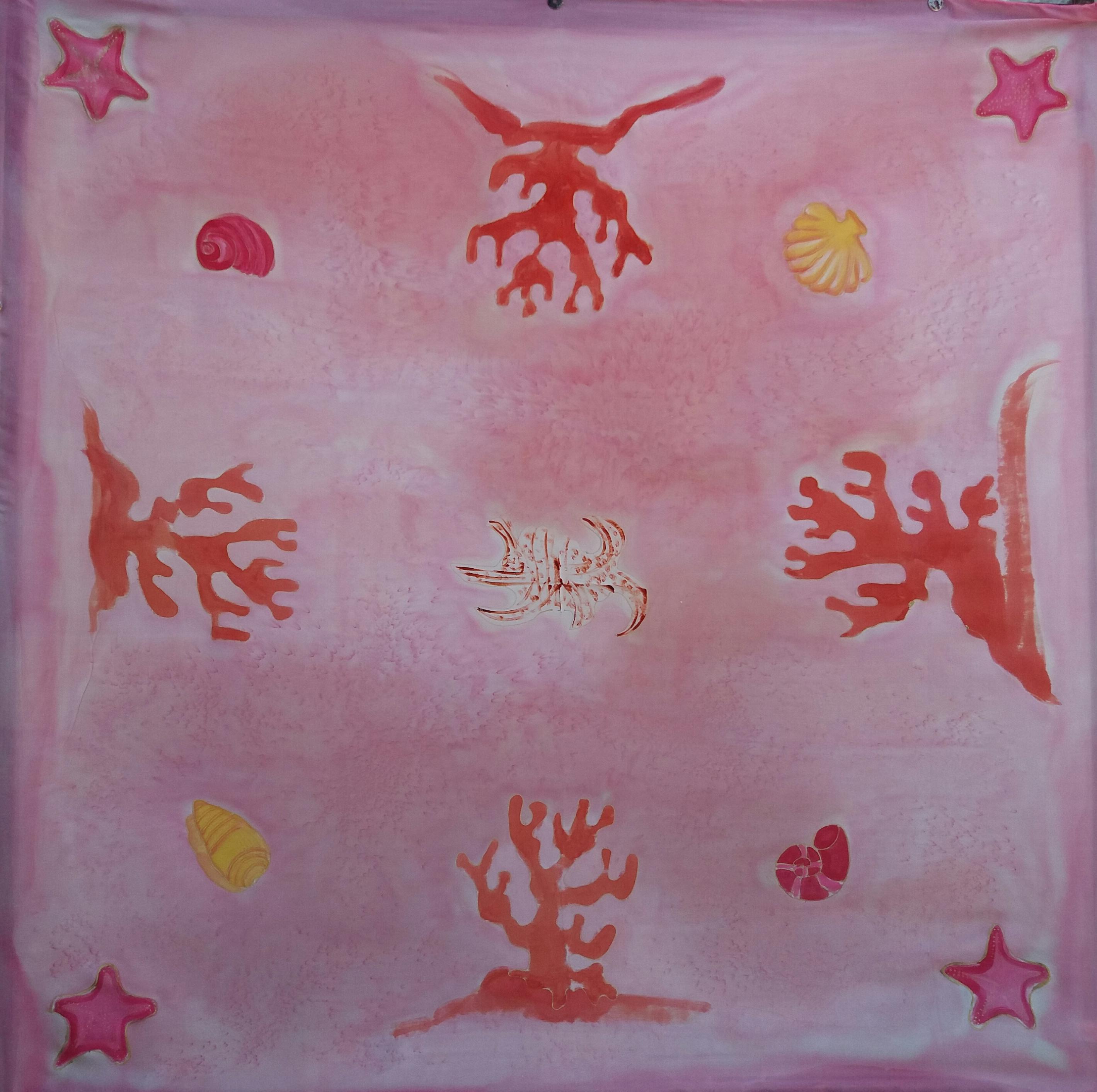 """Pañuelo """"Fósiles del mar"""" crepe satén 90 x 90 cm"""