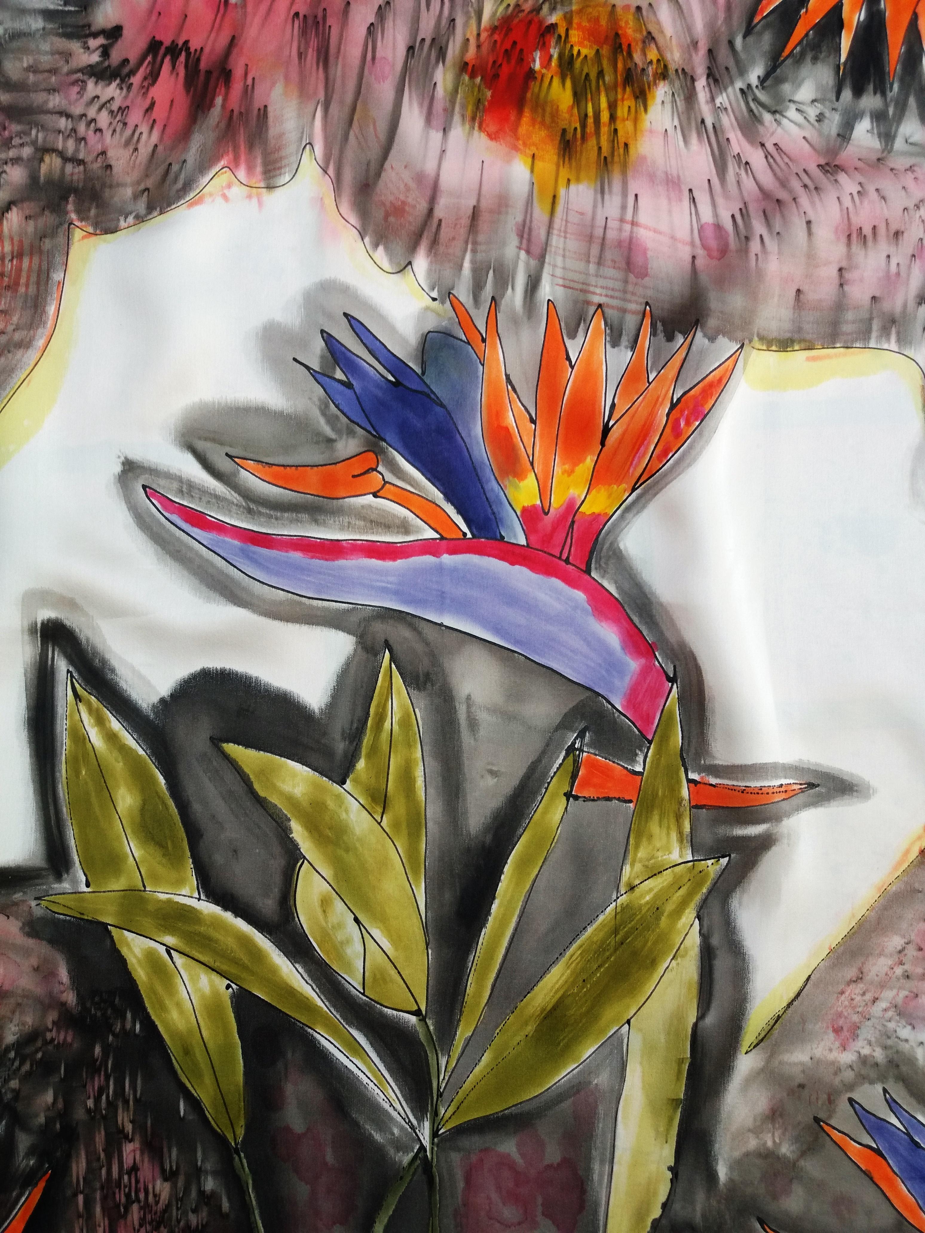 """Detalle pañuelo """"Flor del pensamiento"""", crepe satén 90 x 90 cm"""
