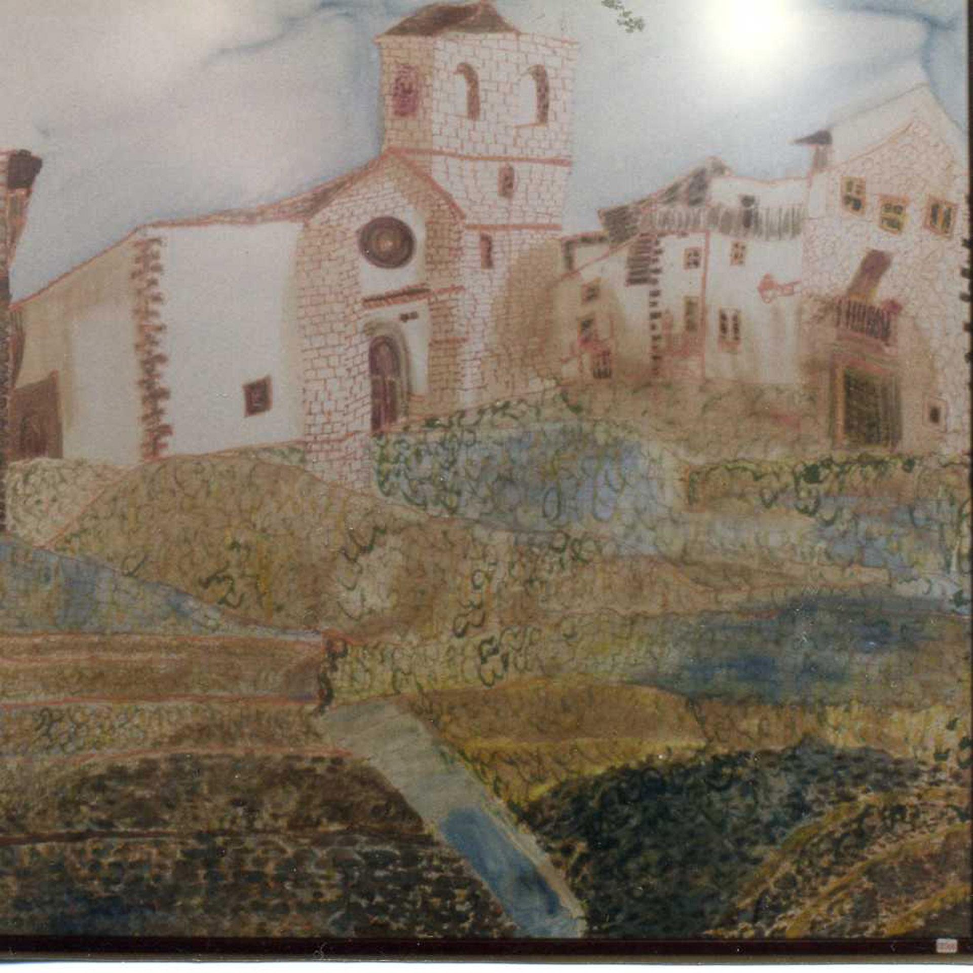 "Pañuelo ""La Iglesia de Candelario"" pongé 90 x 90 cm"