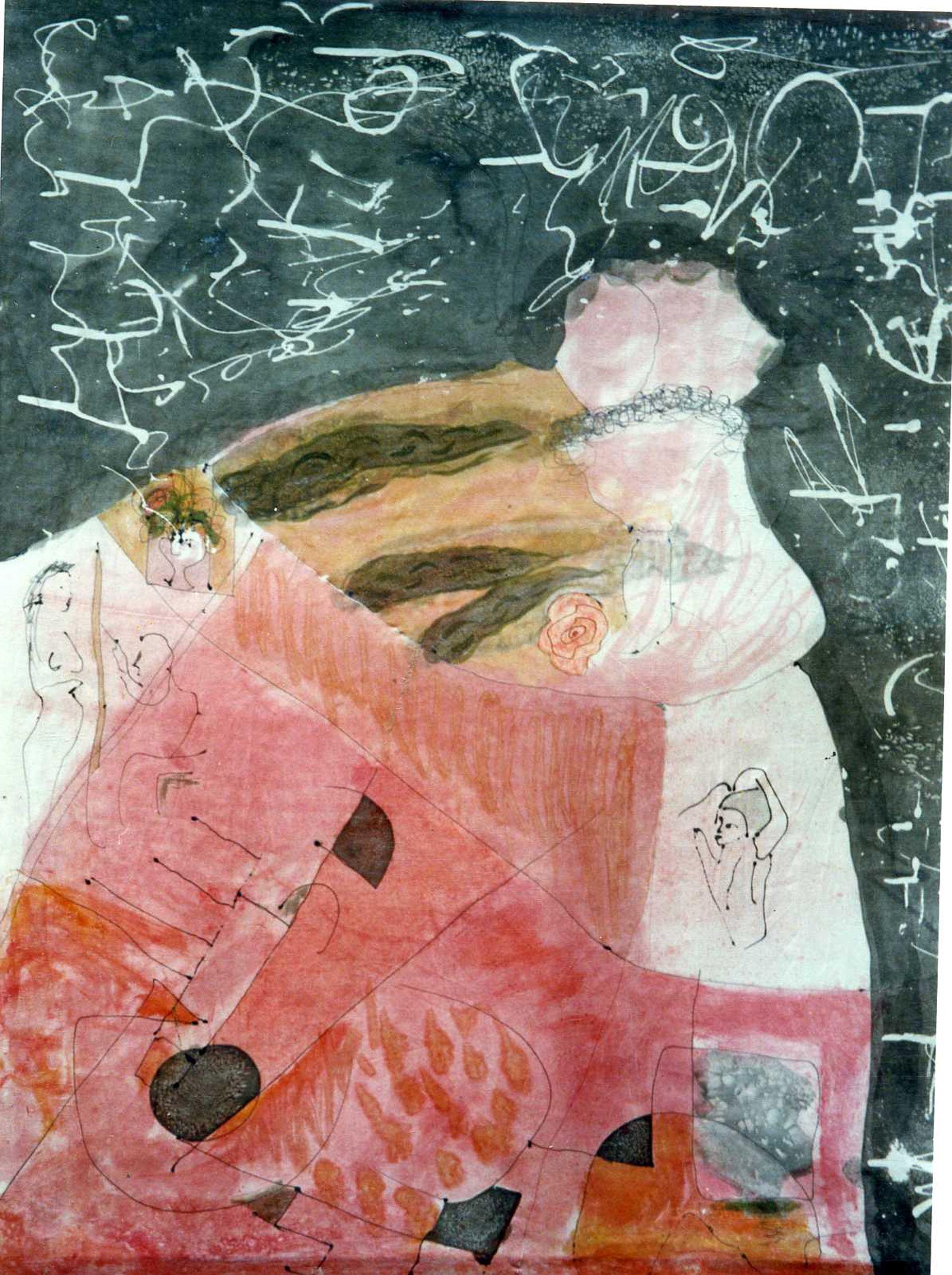 "Pañuelo ""Homenaje a Velázquez y Pollock"", pongé 90 x 90 cm"