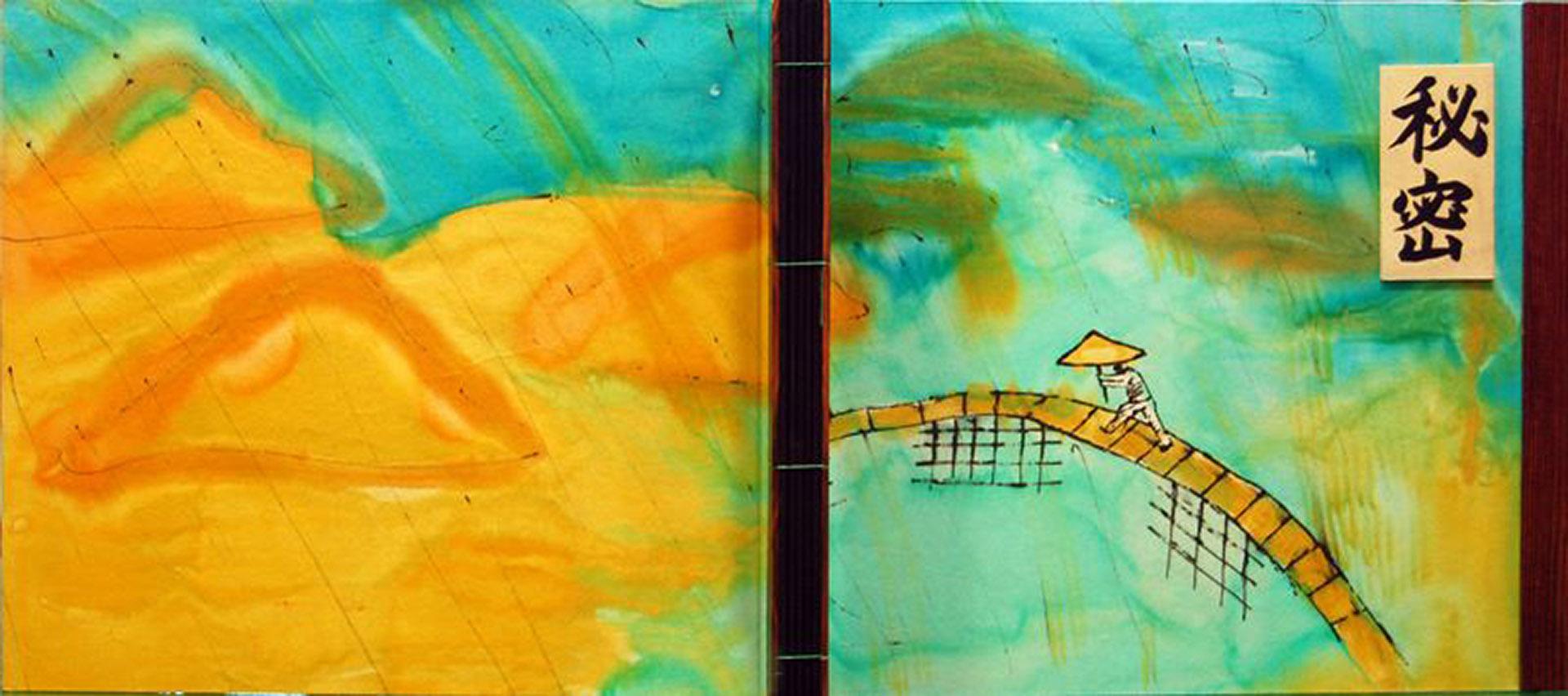 Portada y contraportada de libro en seda natural crepe saten pintado a mano por Ruth de la Puerta montado por Javier  Abellán