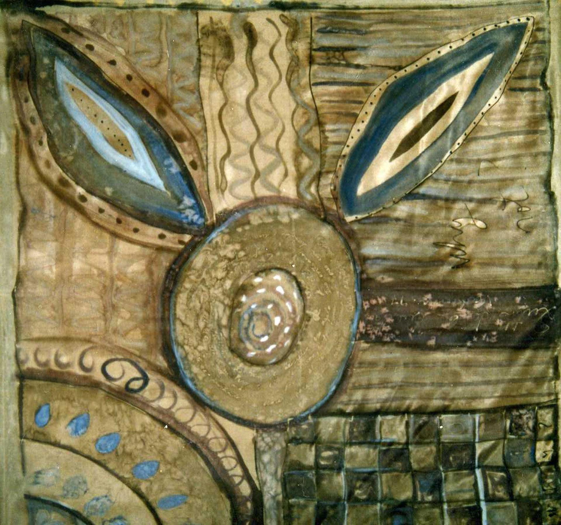 "Pañuelo ""Geometria gris y azul""  pongé 90 x 90 cm"