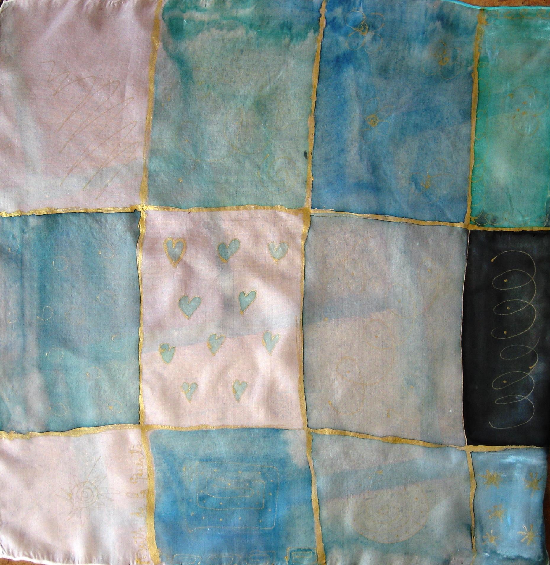 """Pañuelo """"Corazones"""" pongé 45 x 45 cm"""
