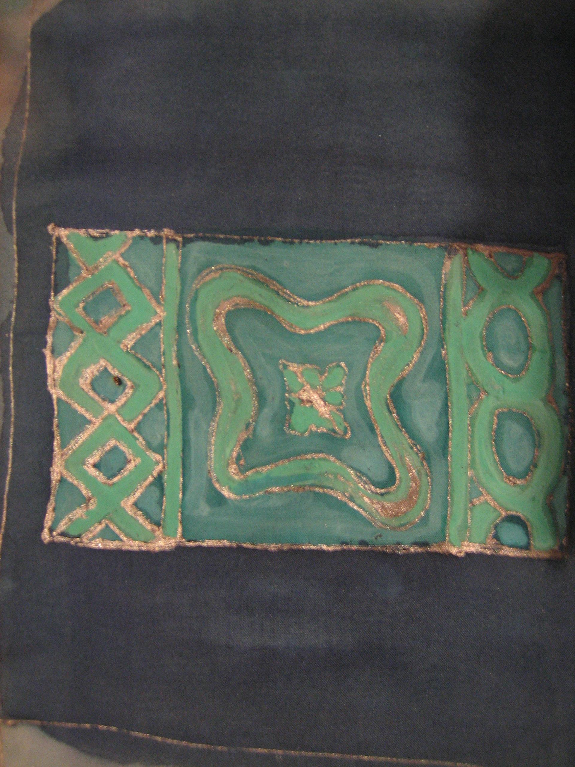 """Pañuelo """"Cuadrados azul y verde"""" pongé 90 x 90 cm"""
