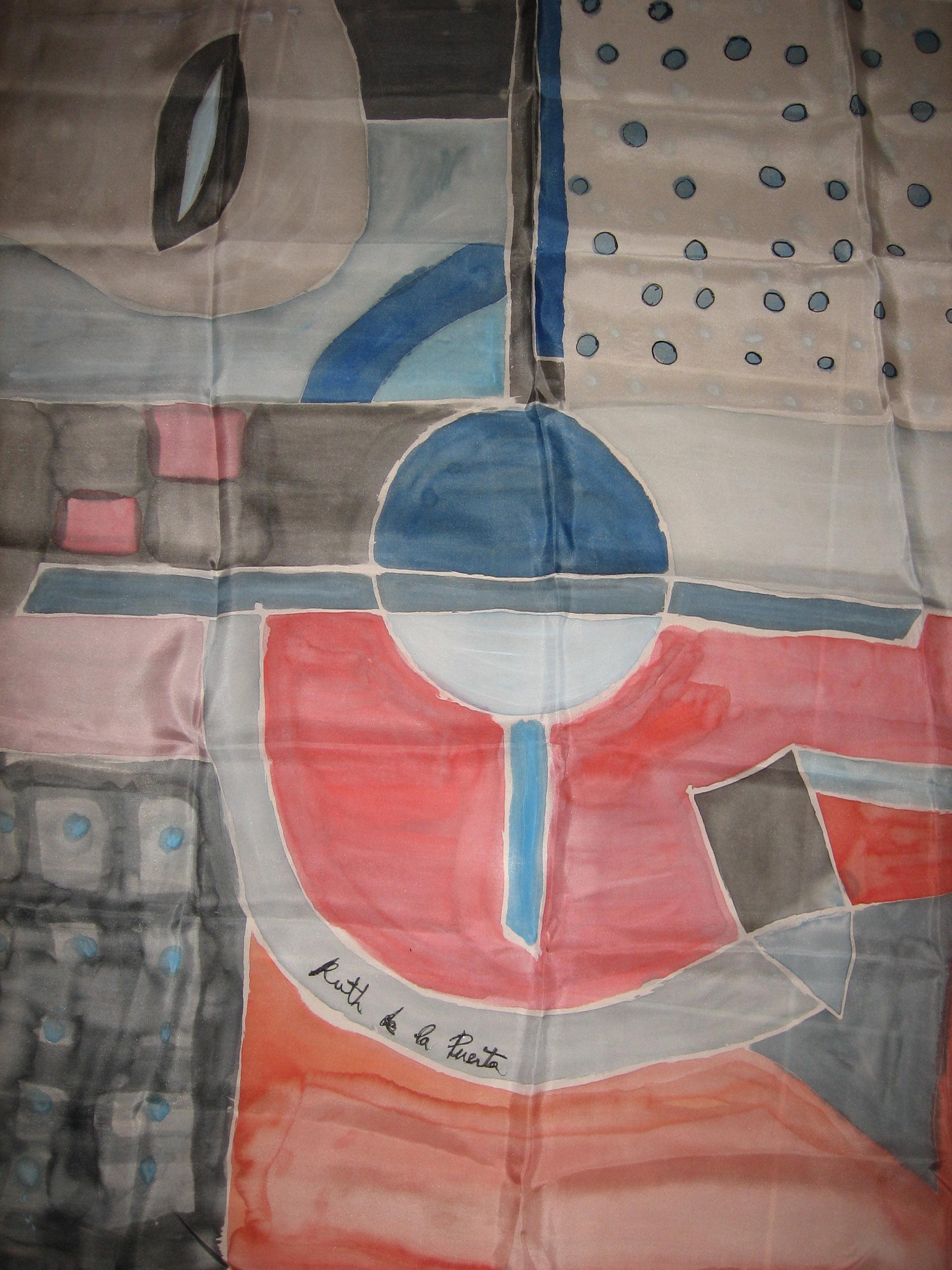 """Pañuelo """"Geometria rosa y azul"""" pongé 90 x 90 cm"""