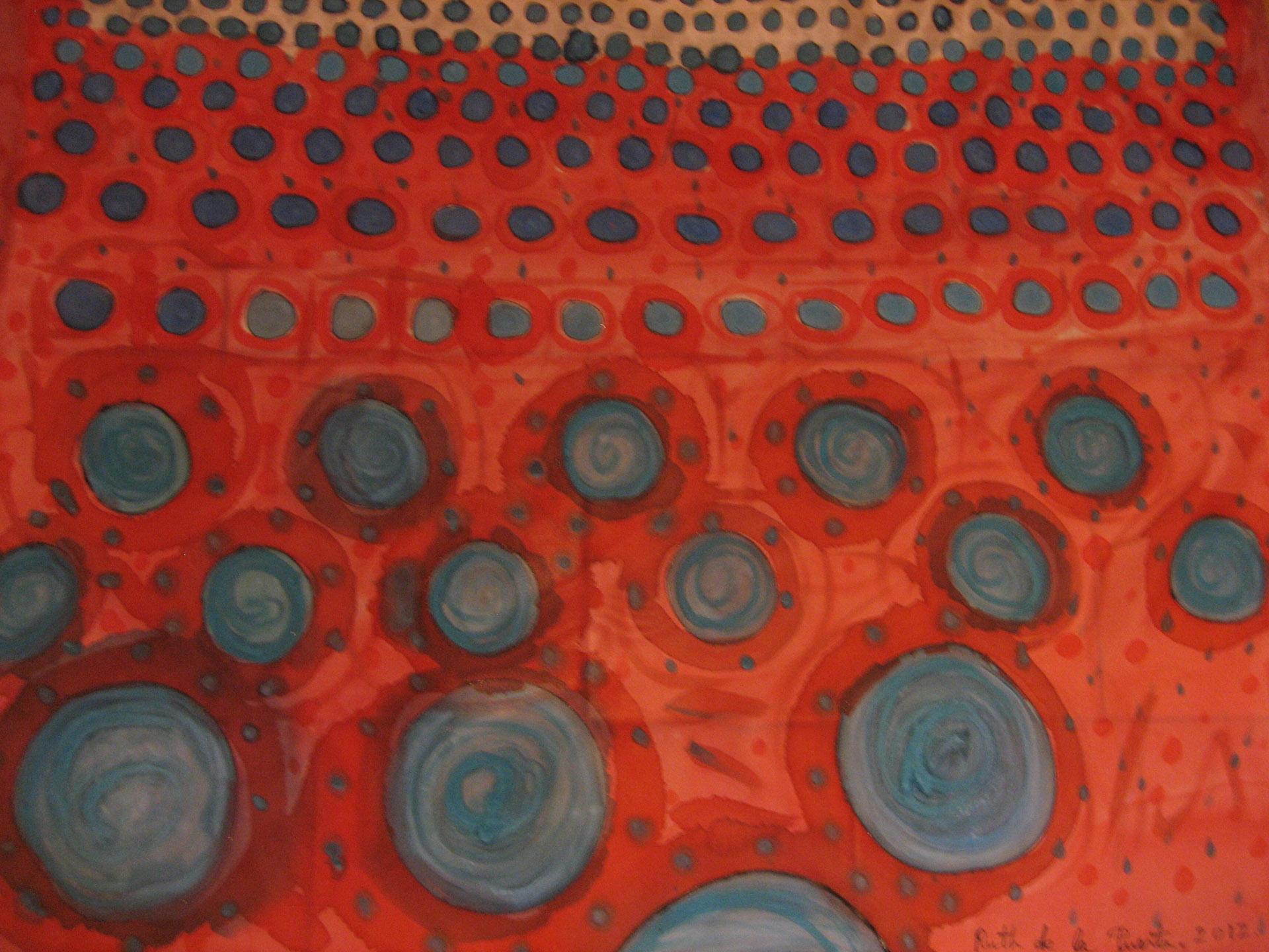 """Pañuelo """"Círculos azules"""" crepe satén 90 x 90 cm"""