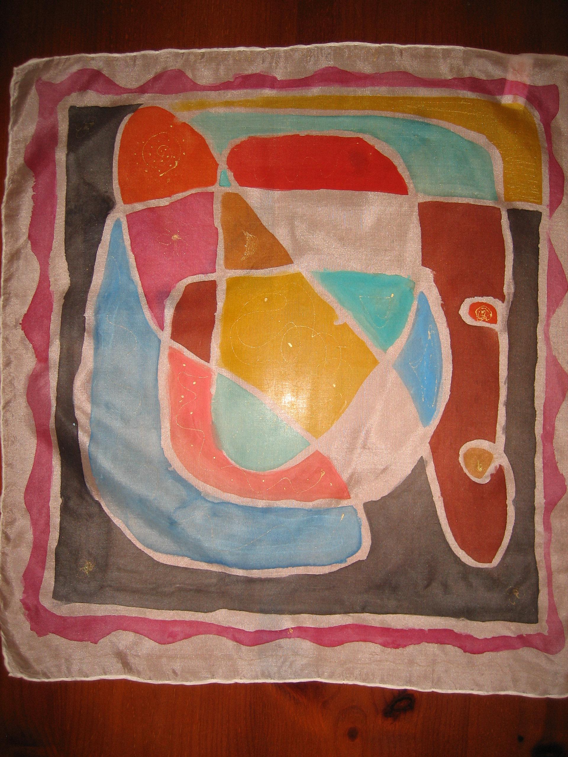 "Pañuelo ""Geometría multicolor"" pongé 45 x 45 cm"