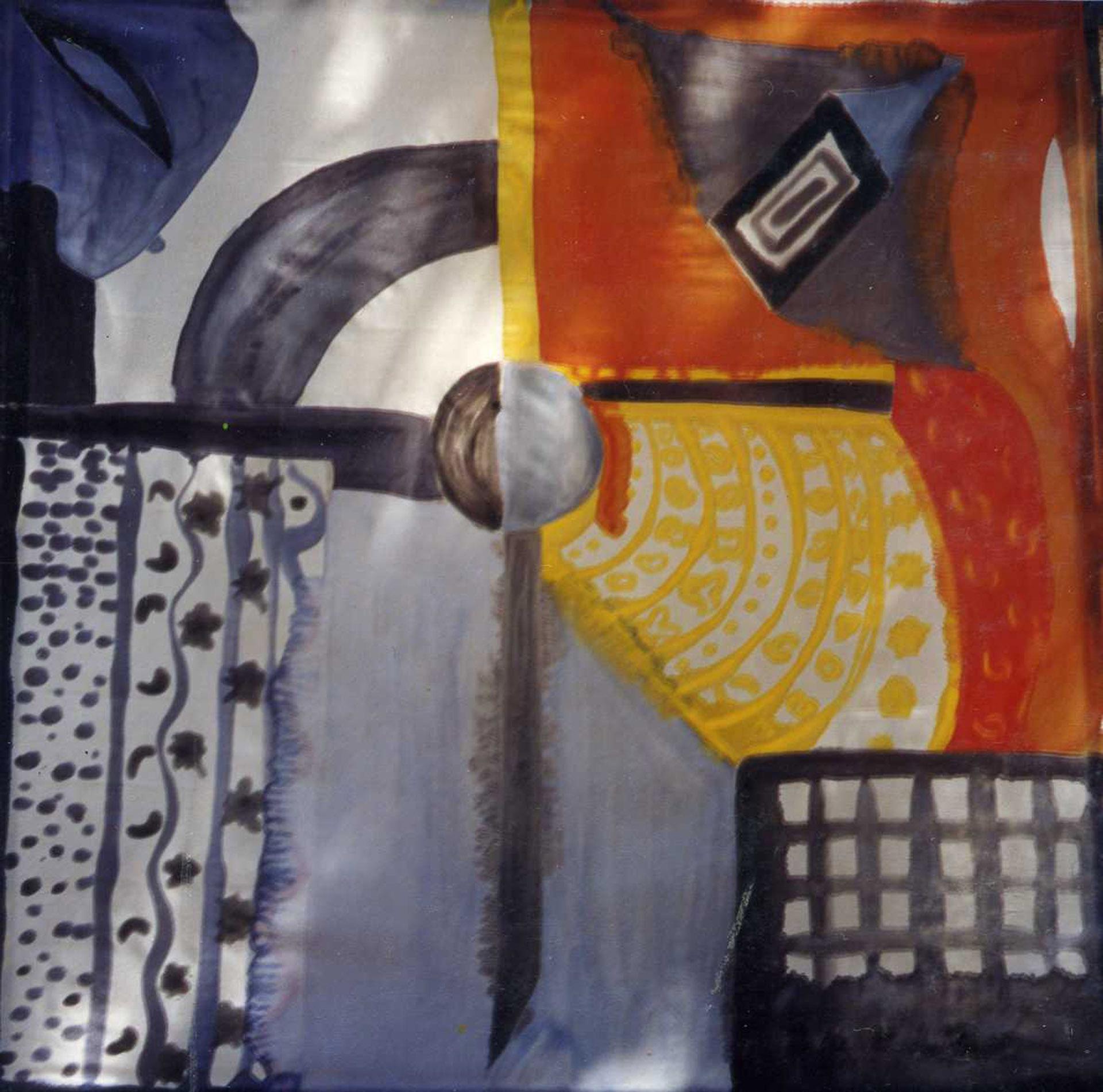 "Pañuelo ""Geometria colores"" pongé 90 x 90 cm"