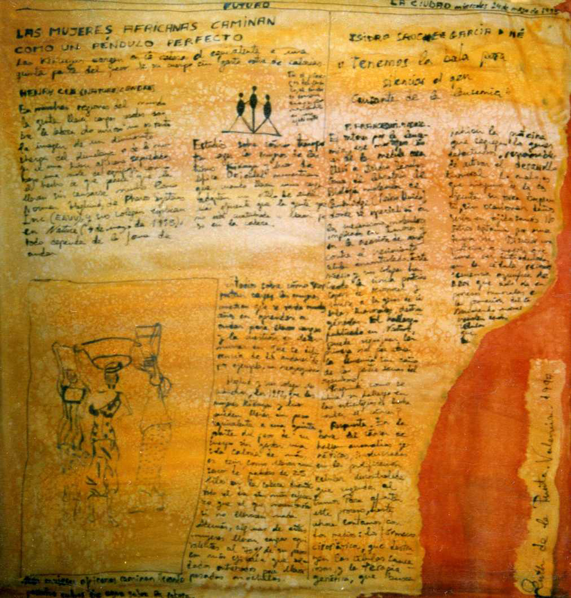 "Pañuelo ""Las mujeres en África"" pongé 90 x 90 cm"