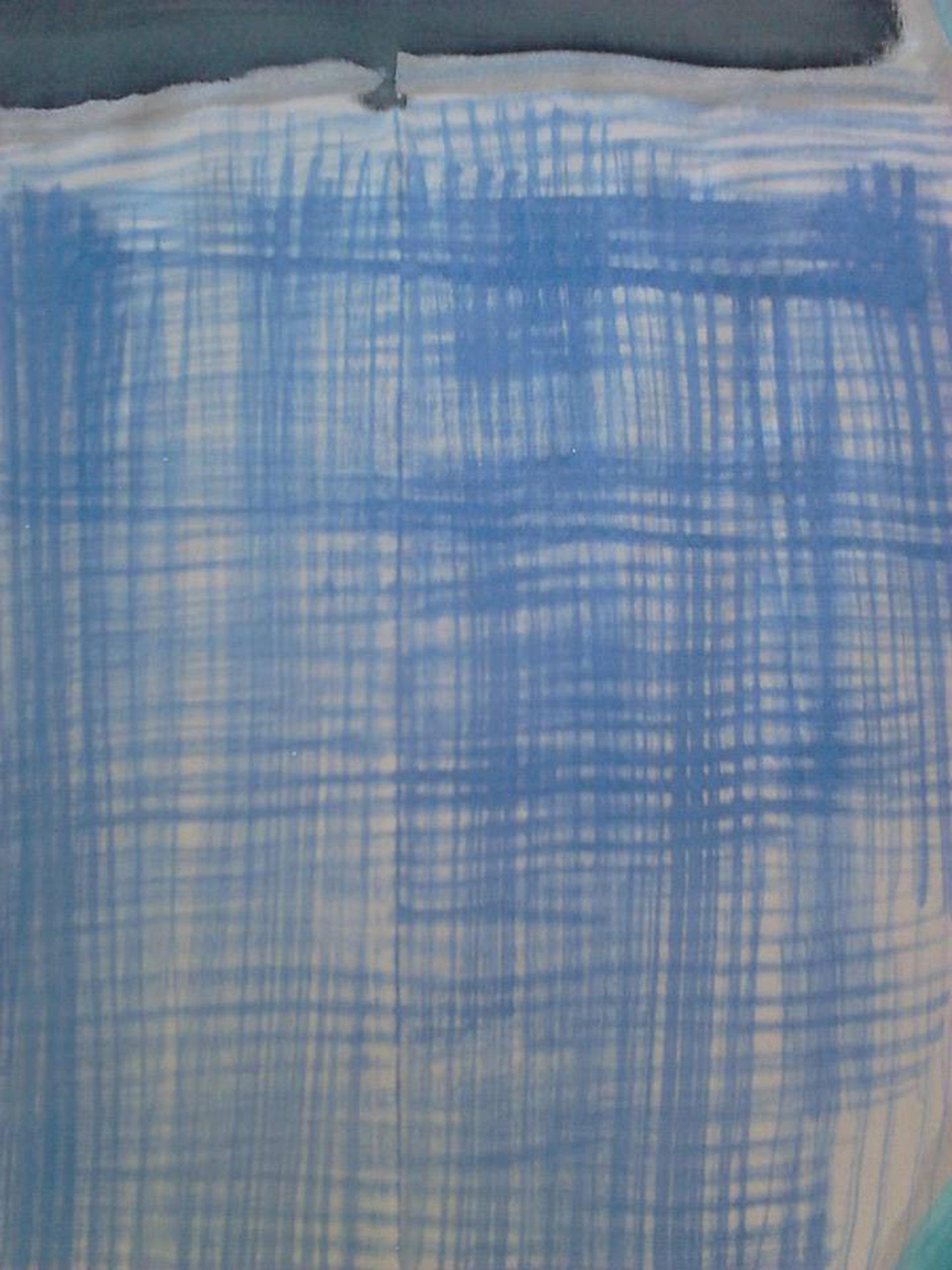 """Detalle rayas en pañuelo """"Luna en mar geometrício"""" azules y verdes, crepe satén 90 x 90 cm"""