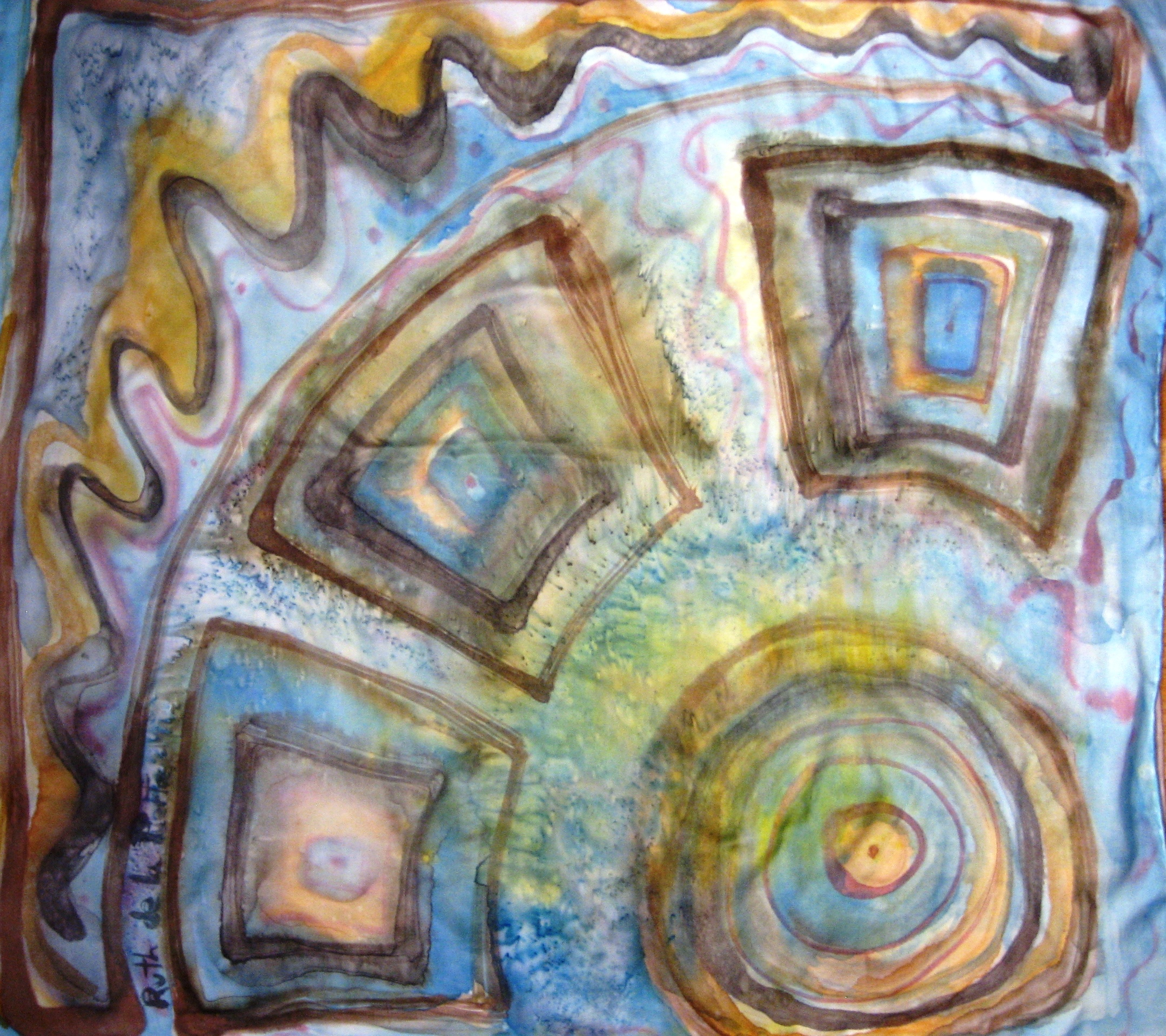 "Pañuelo ""Manchas marrones y azules"" crepe satin 90 x 90 cm."
