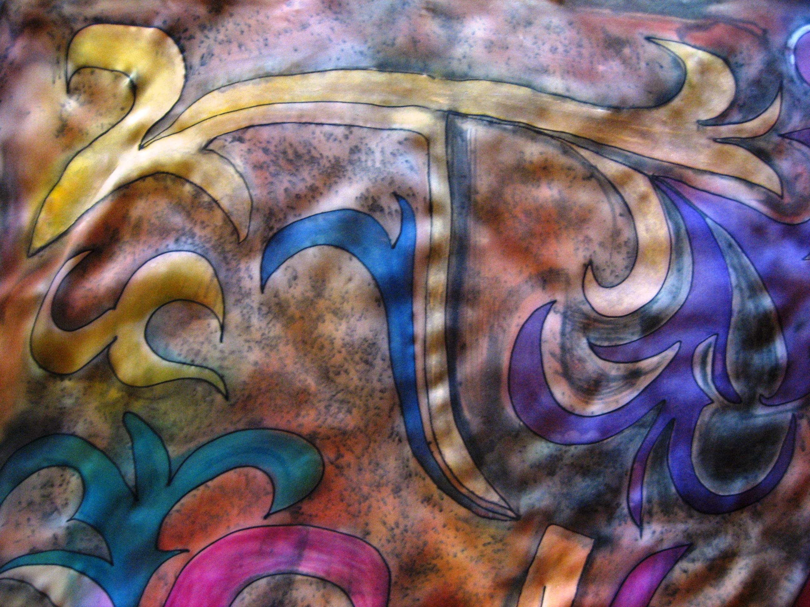 """Pañuelo """"Abstracción flechas"""" crepe satin 90 x 90 cm."""