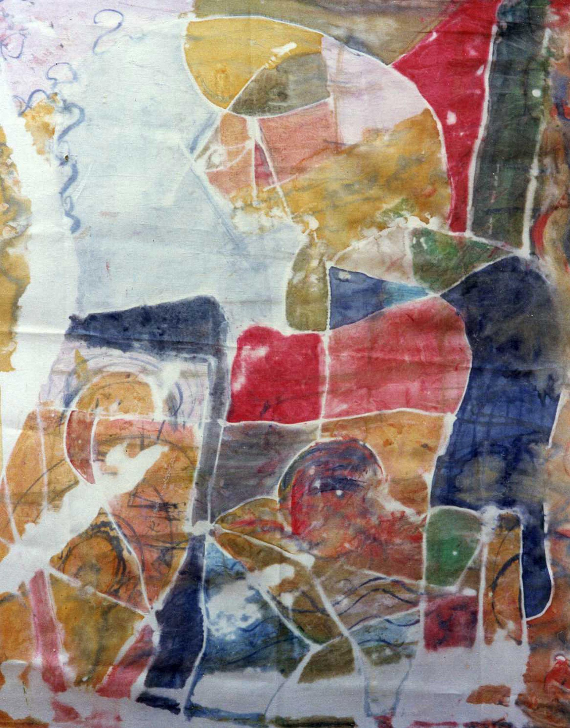 """Pañuelo """"Homenaje a Picasso"""", pongé 90 x 90 cm"""
