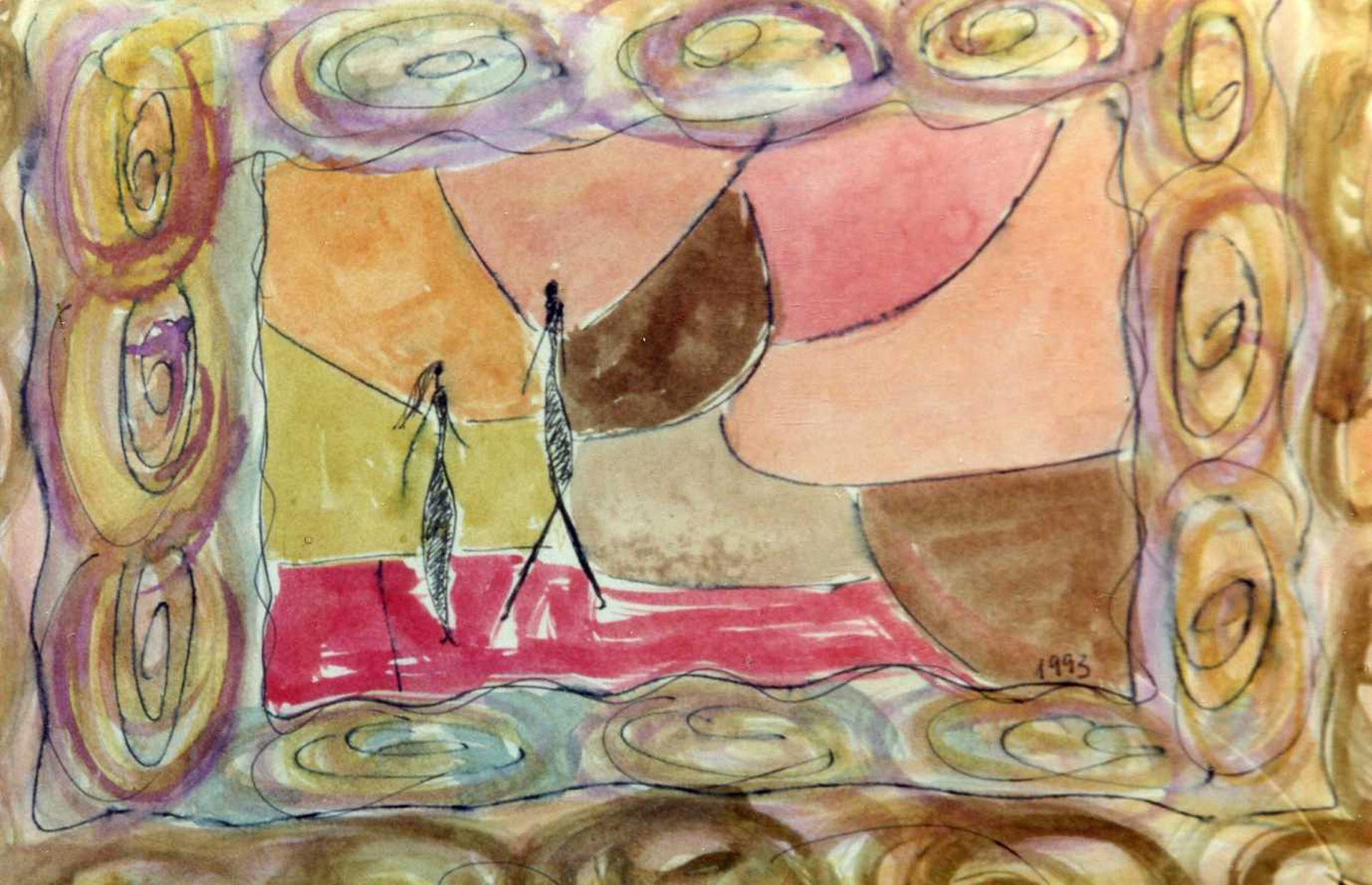 "Boceto cuadro ""Homenaje a Giacometti"", técnica mixta sobre cartulina"