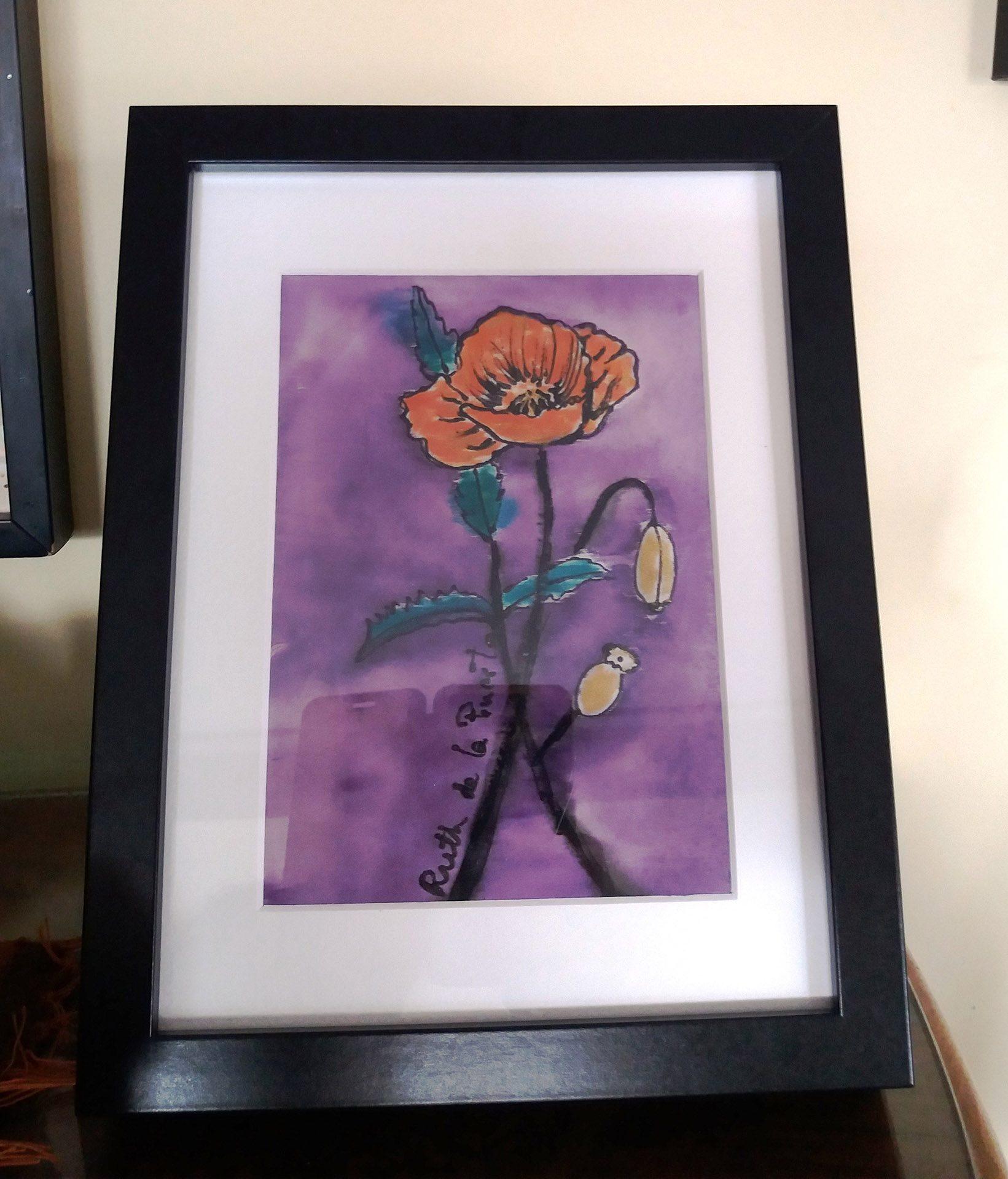 """Cuadro """"La flor roja""""para mesa en  crepe satén 18 x 24 cm"""