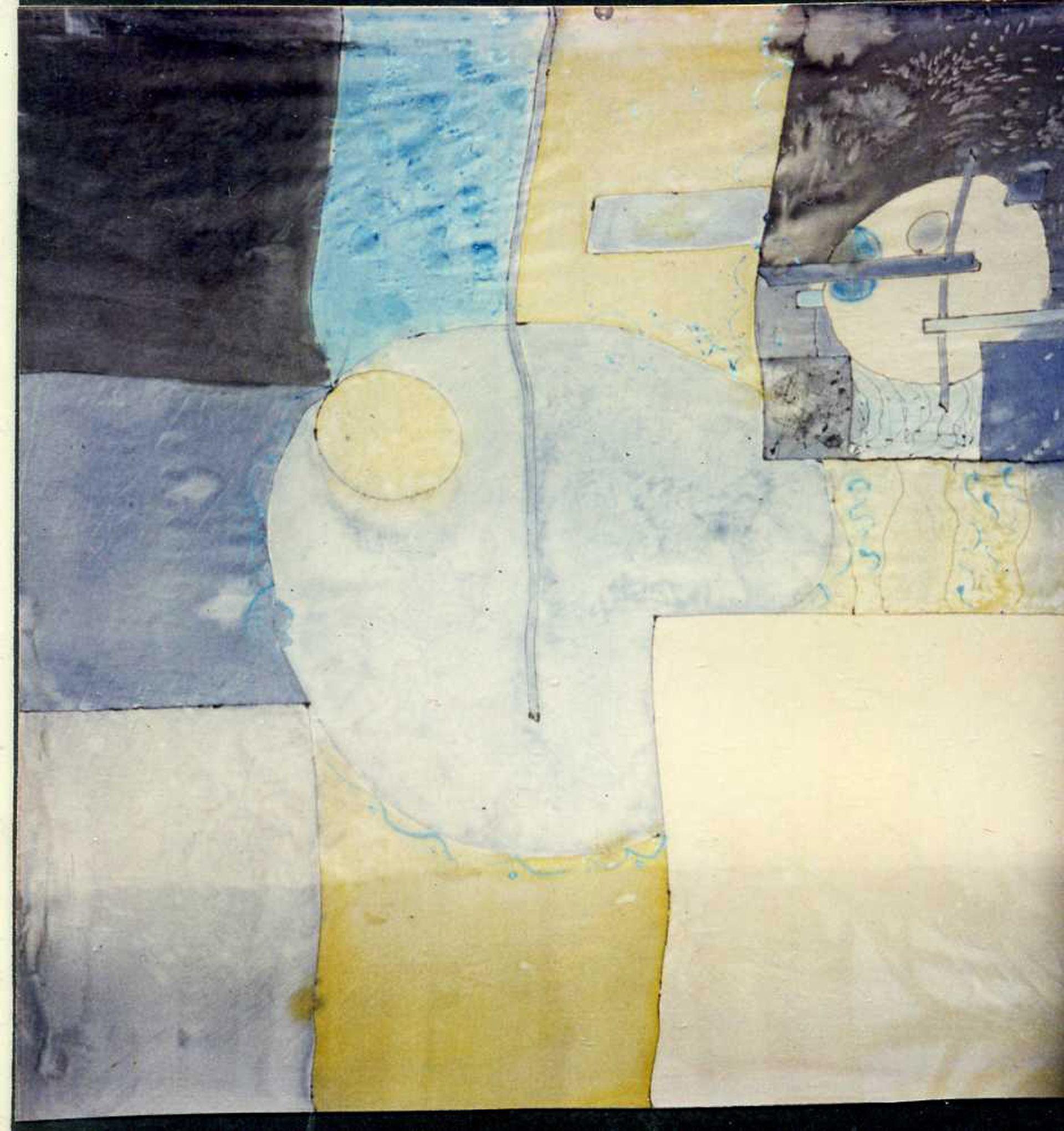 """Pañuelo """"Ggeometría amarillo y azul"""" pongé 90 x 90 cm"""