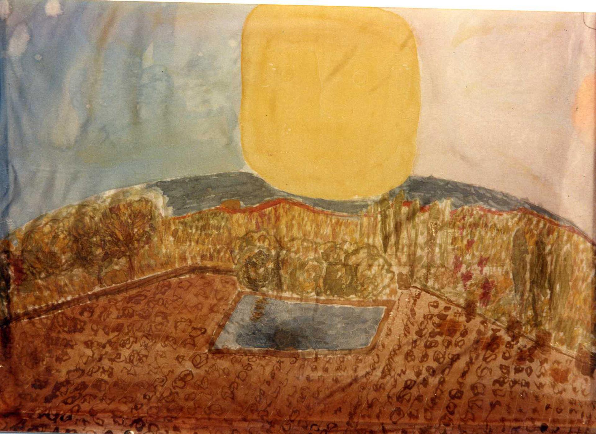 """Pañuelo """"Puesta de Sol en el Pradijón (Candelario)"""" pongé 90 x 90 cm"""