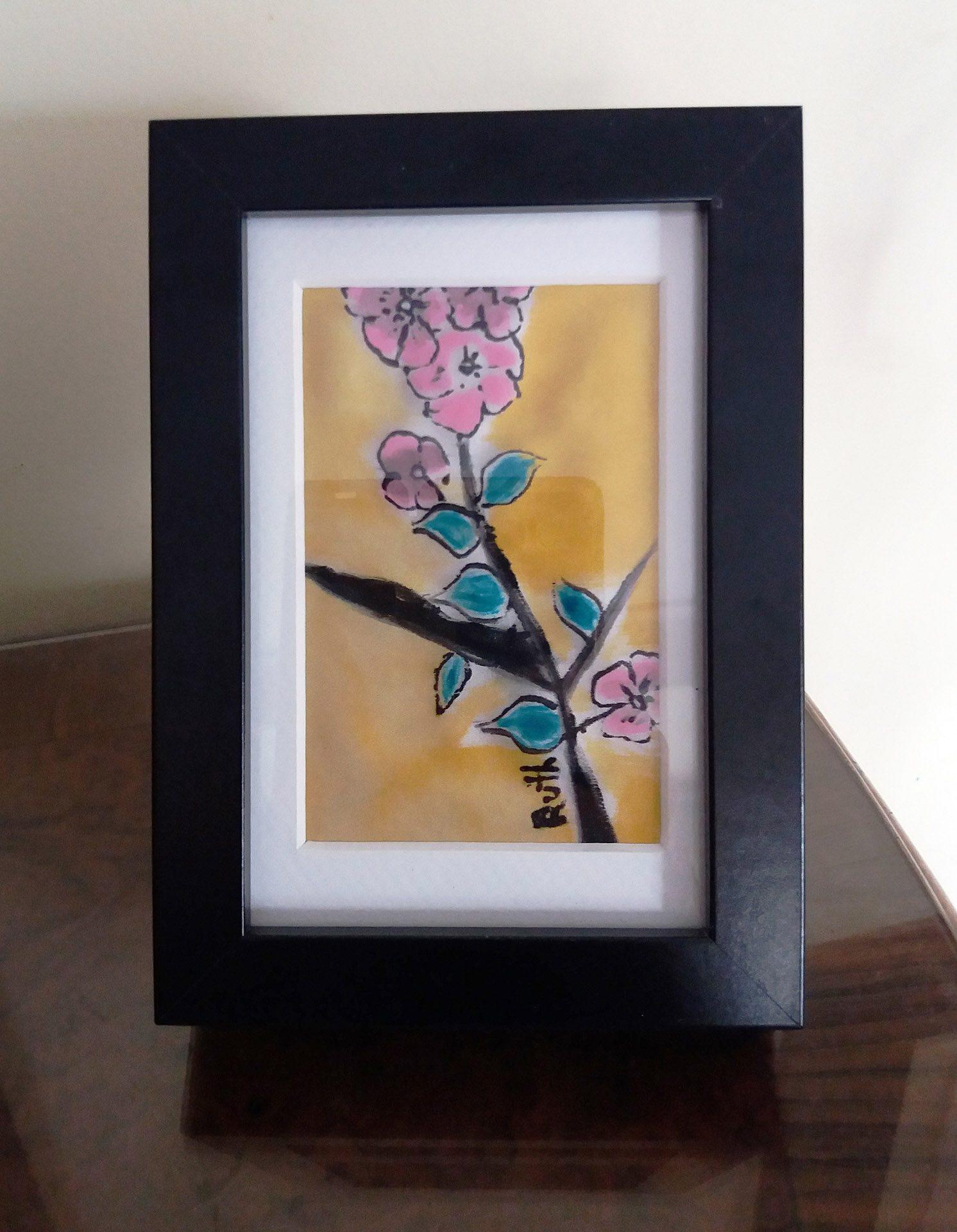 """Cuadro """"Flor de almendro"""" para mesa, crepe satén 12 x 18 cm"""