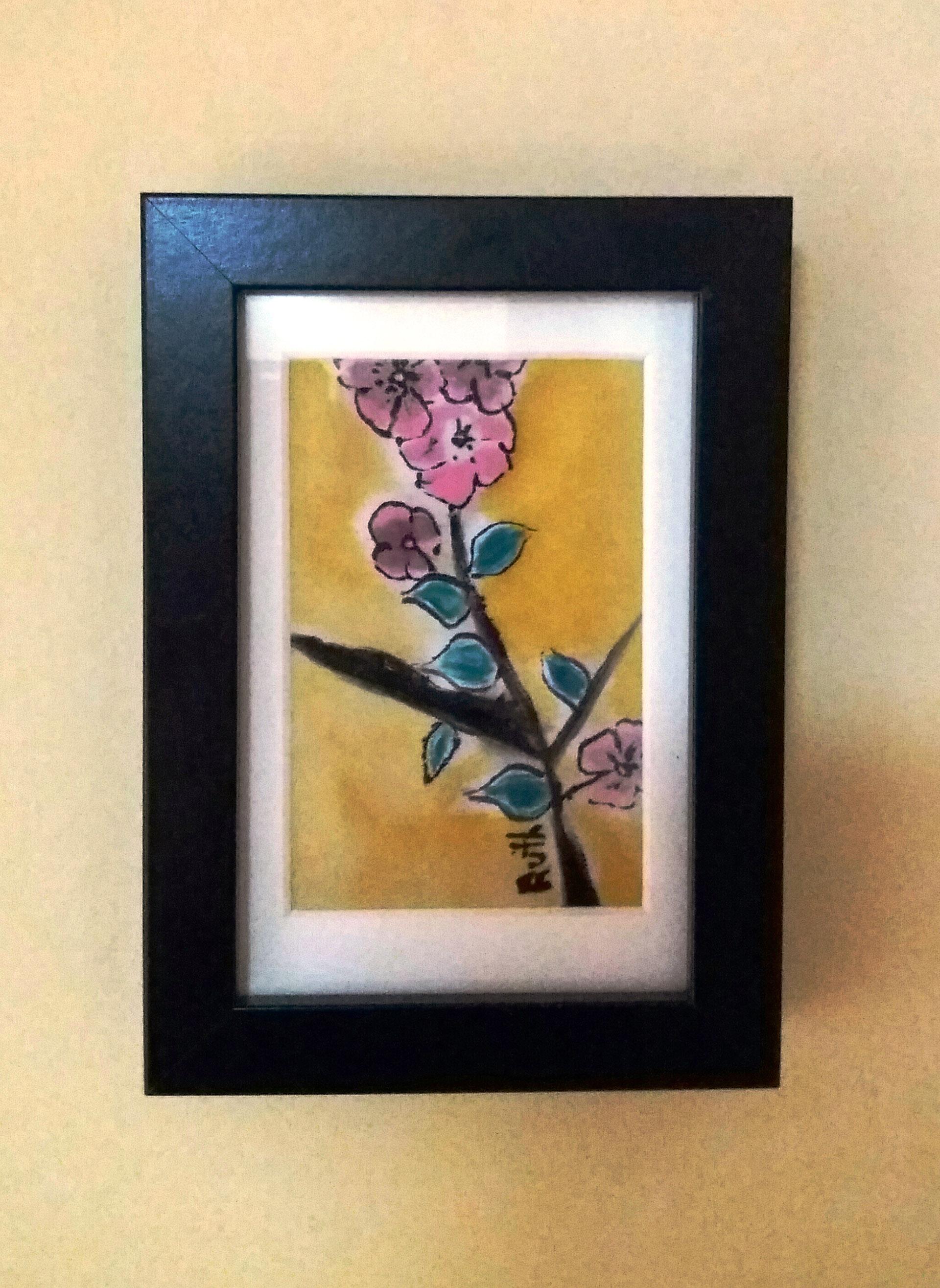"""Cuadro """"Flor de almendro"""" para pared crepe satén 12 x 18 cm"""