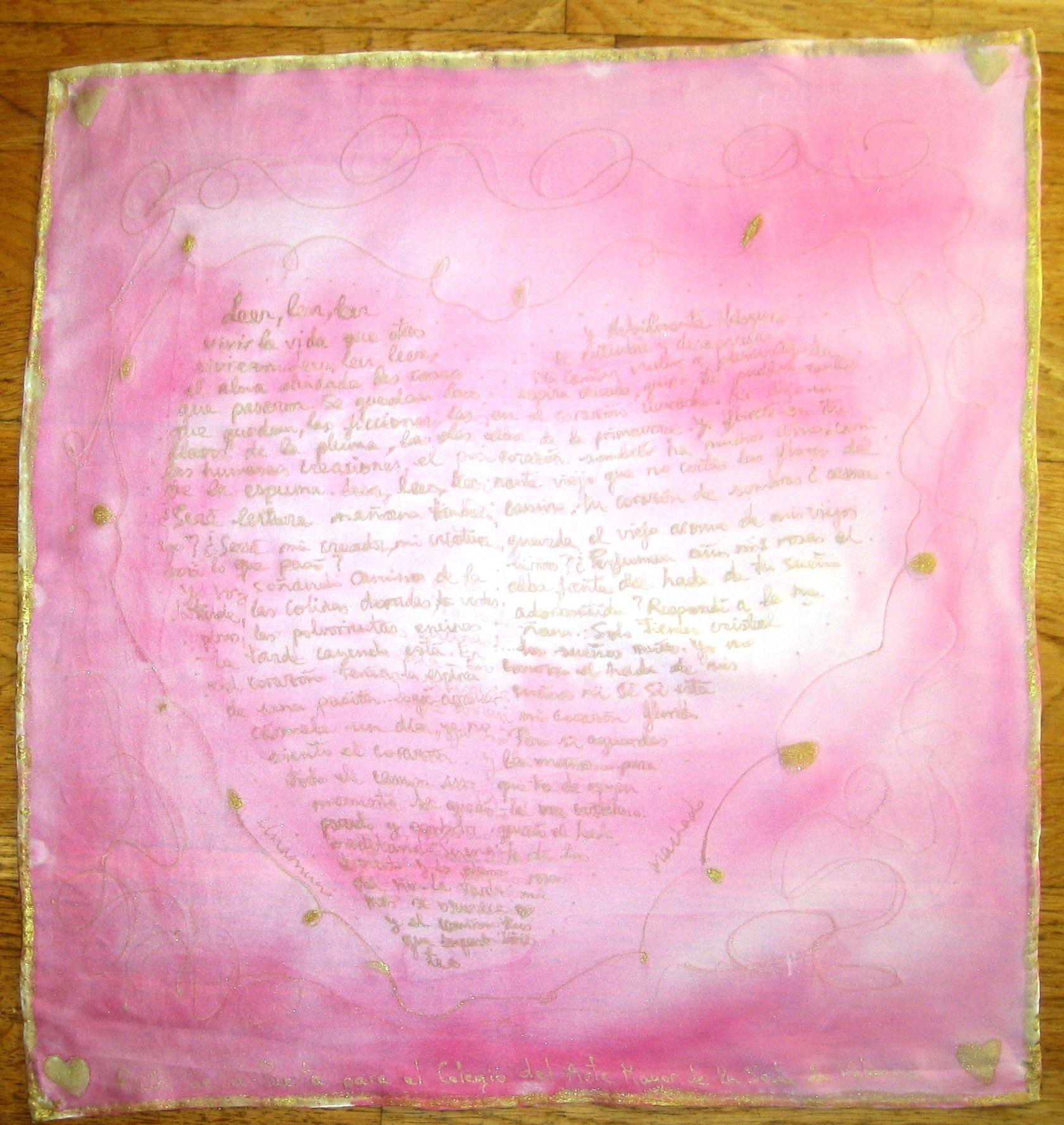 """Pañuelo """"Corazón con poesía de Unamuno"""", crepe satén, 45 x 45 cm"""