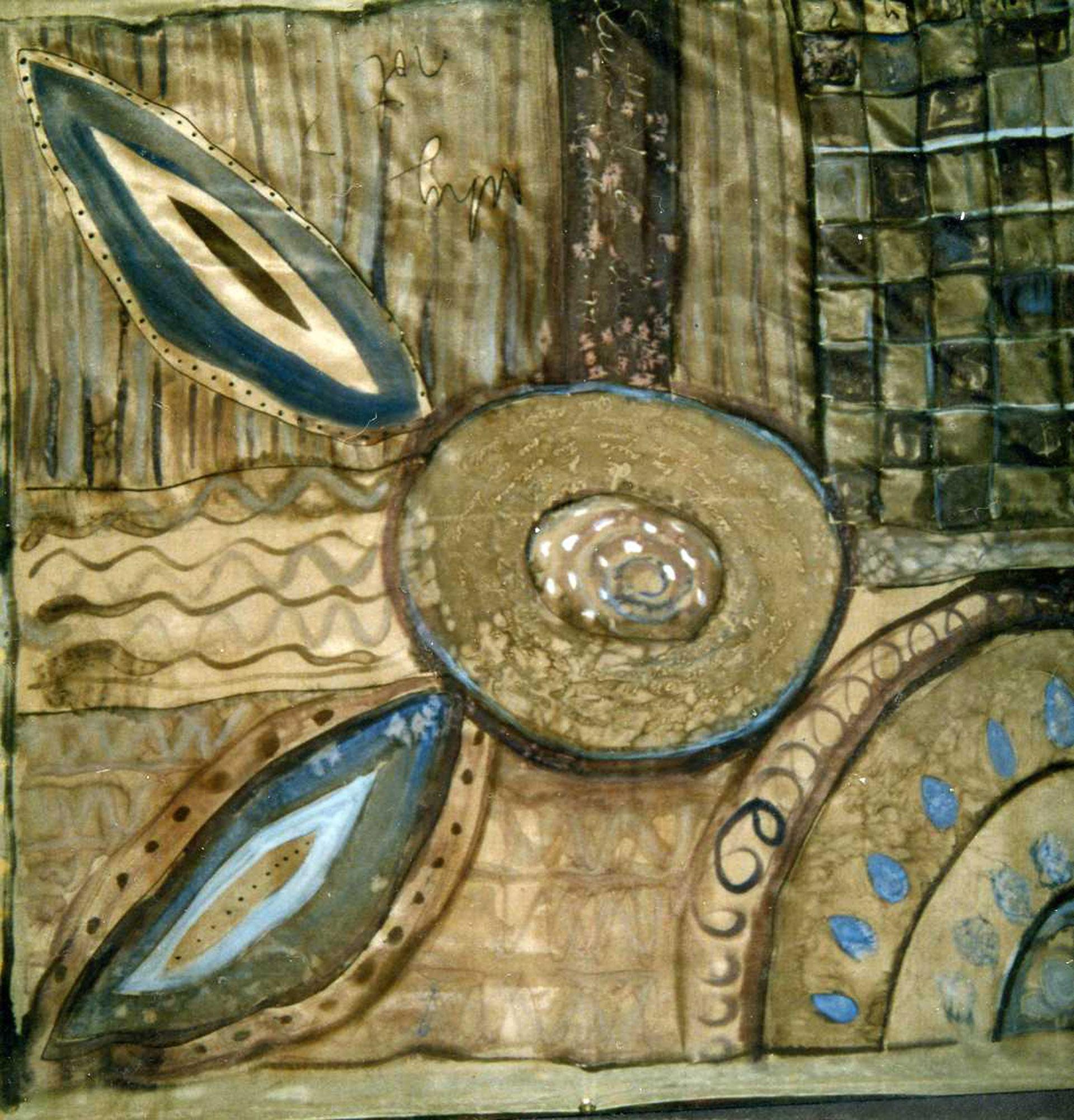 "Pañuelo ""Geometria grises y azules"" pongé 90 x 90 cm"