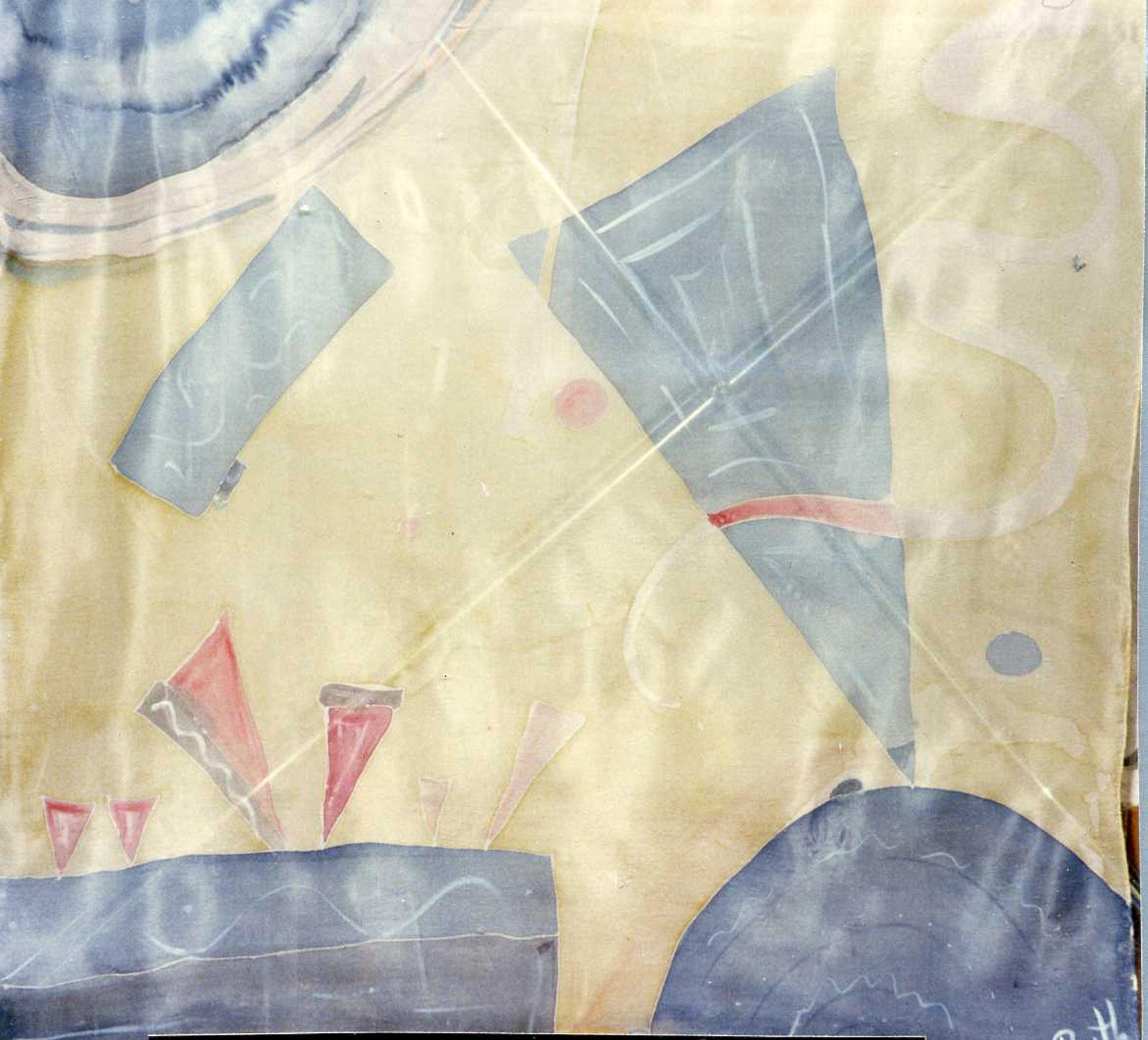 "Pañuelo ""Homenaje a Kandinsky en azul y amarillo"", pongé 90 x 90 cm"
