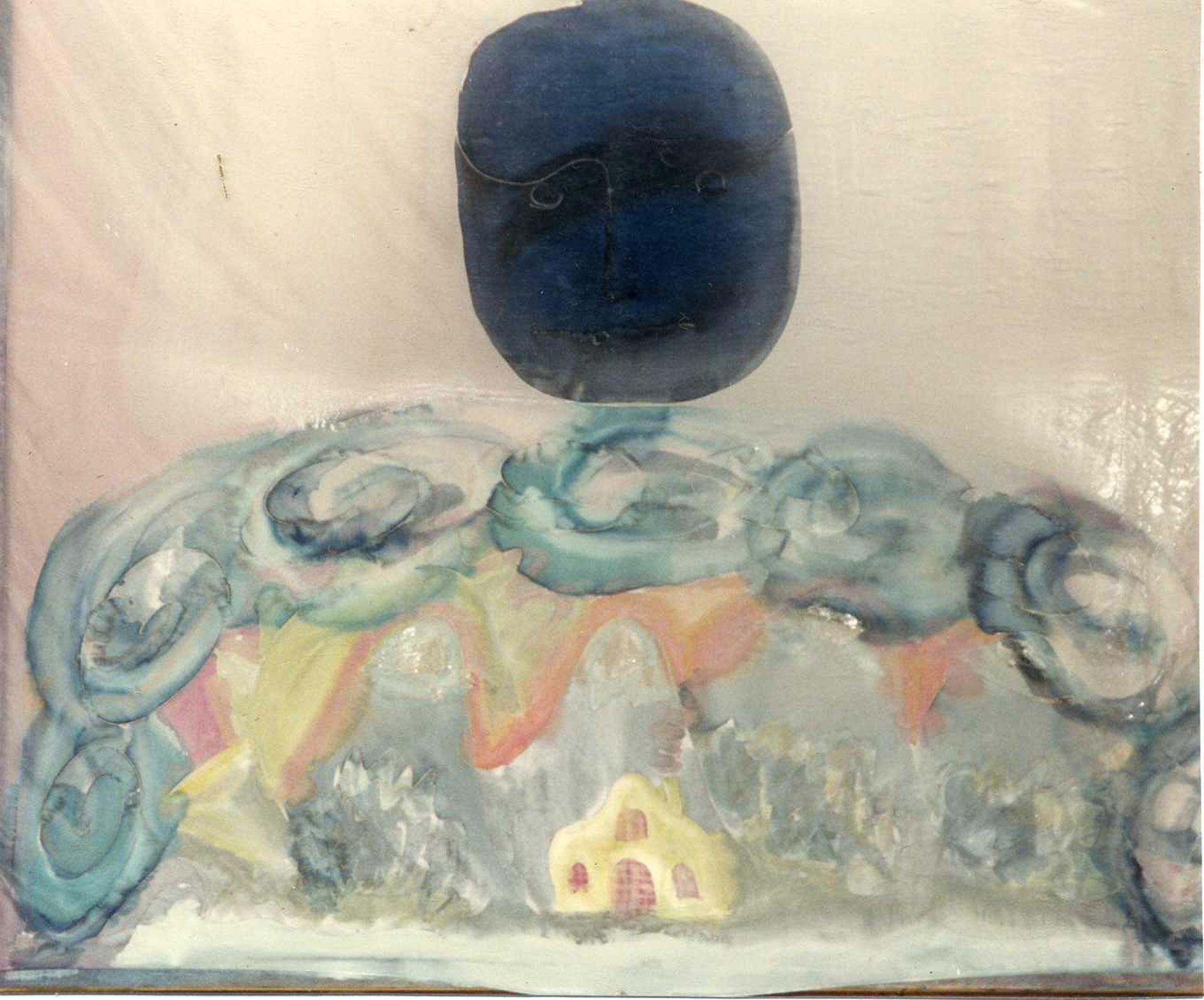 """Pañuelo """"La luna sobre el Pradijón (Candelario) """" pongé 90 x 90 cm"""