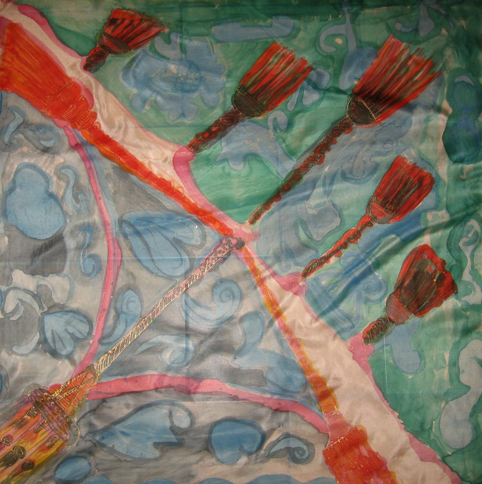 "Pañuelo ""Homenaje a los pasamaneros"", crepe satén 90 x 90 cm"
