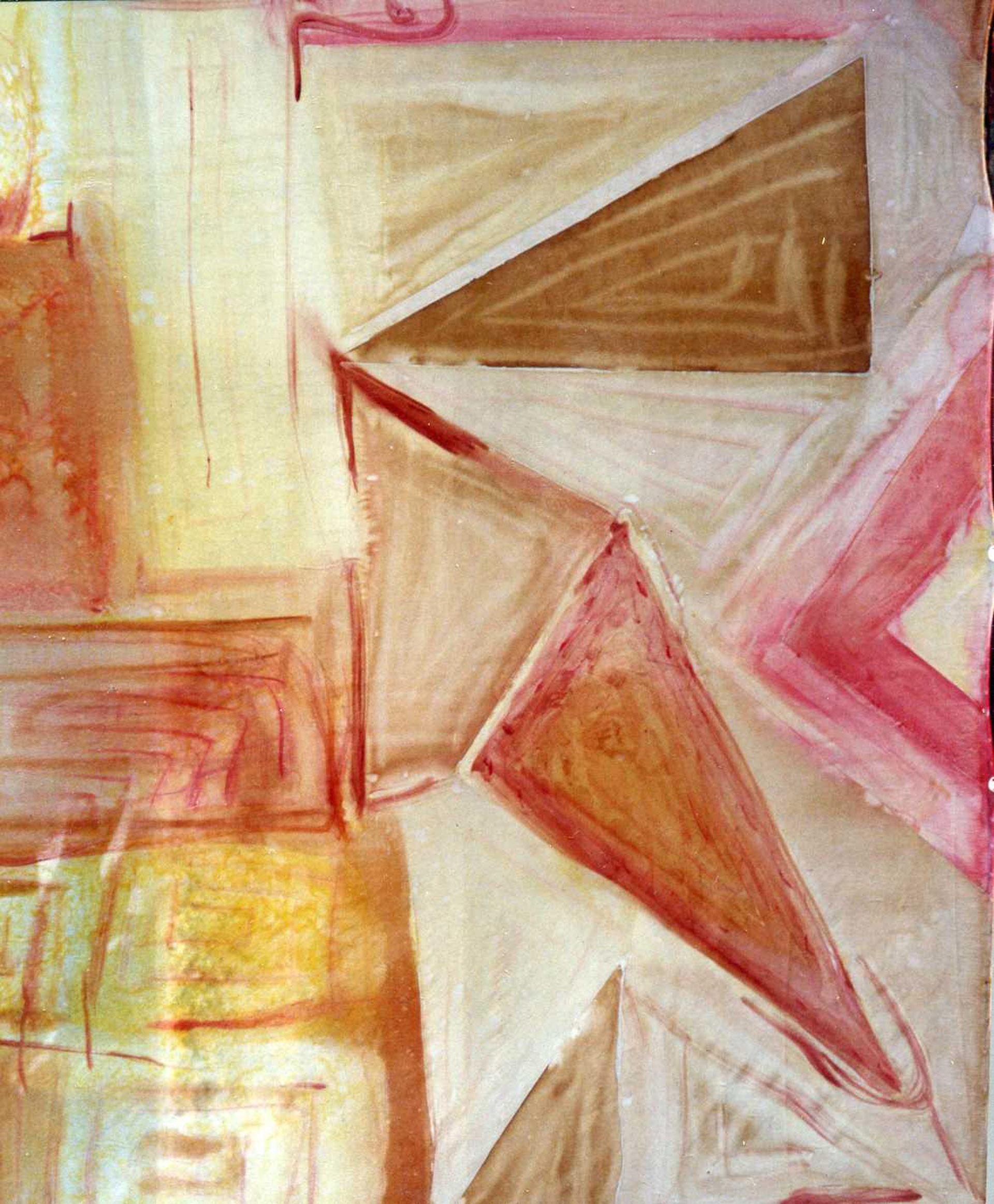 "Pañuelo ""Homenaje a Kandinsky en marrón, rosa  y amarillo"", pongé 90 x 90 cm"