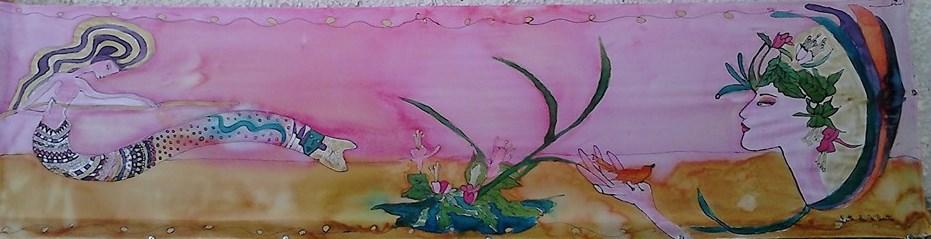 """Fular """"Sirenas modernistas Araceli"""", crepe satén 180 x 45 cm"""
