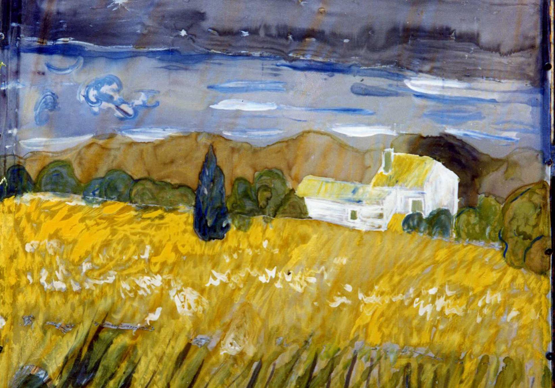 """Pañuelo """"Homenaje  Van Gogh"""" pongé 90 x 90 cm"""