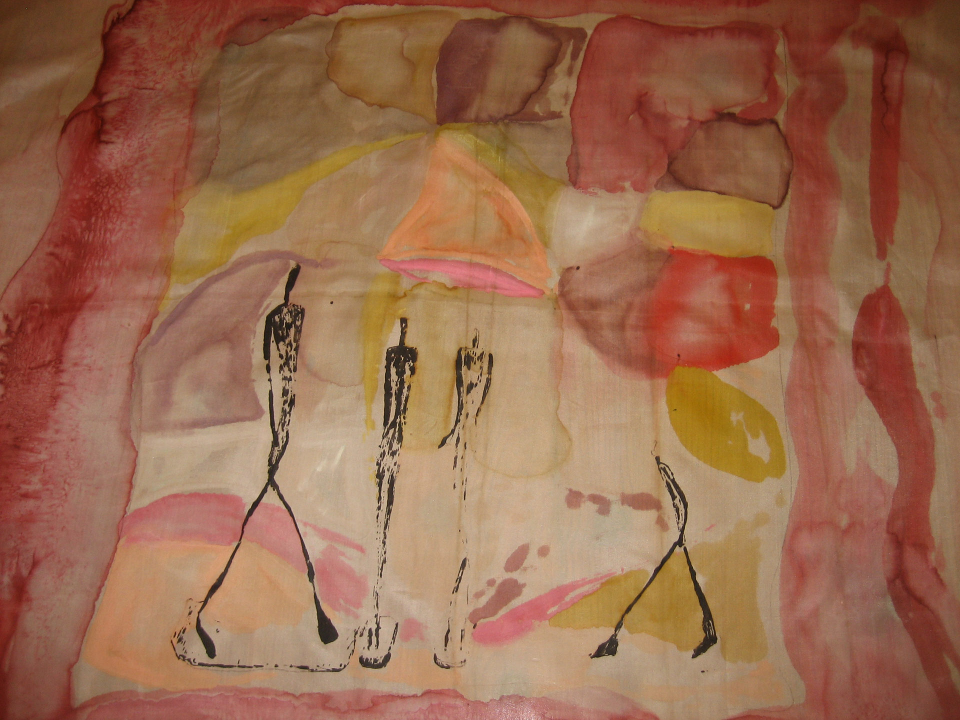 "Pañuelo ""Homenaje a Giacomett en color"" pongé 90 x 90 cm"