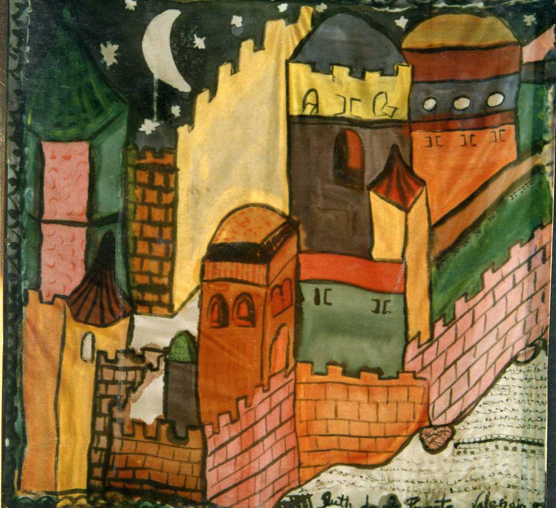 """Pañuelo """"La Valencia medieval  con luna"""" crepe satén 90 x 90 cm"""