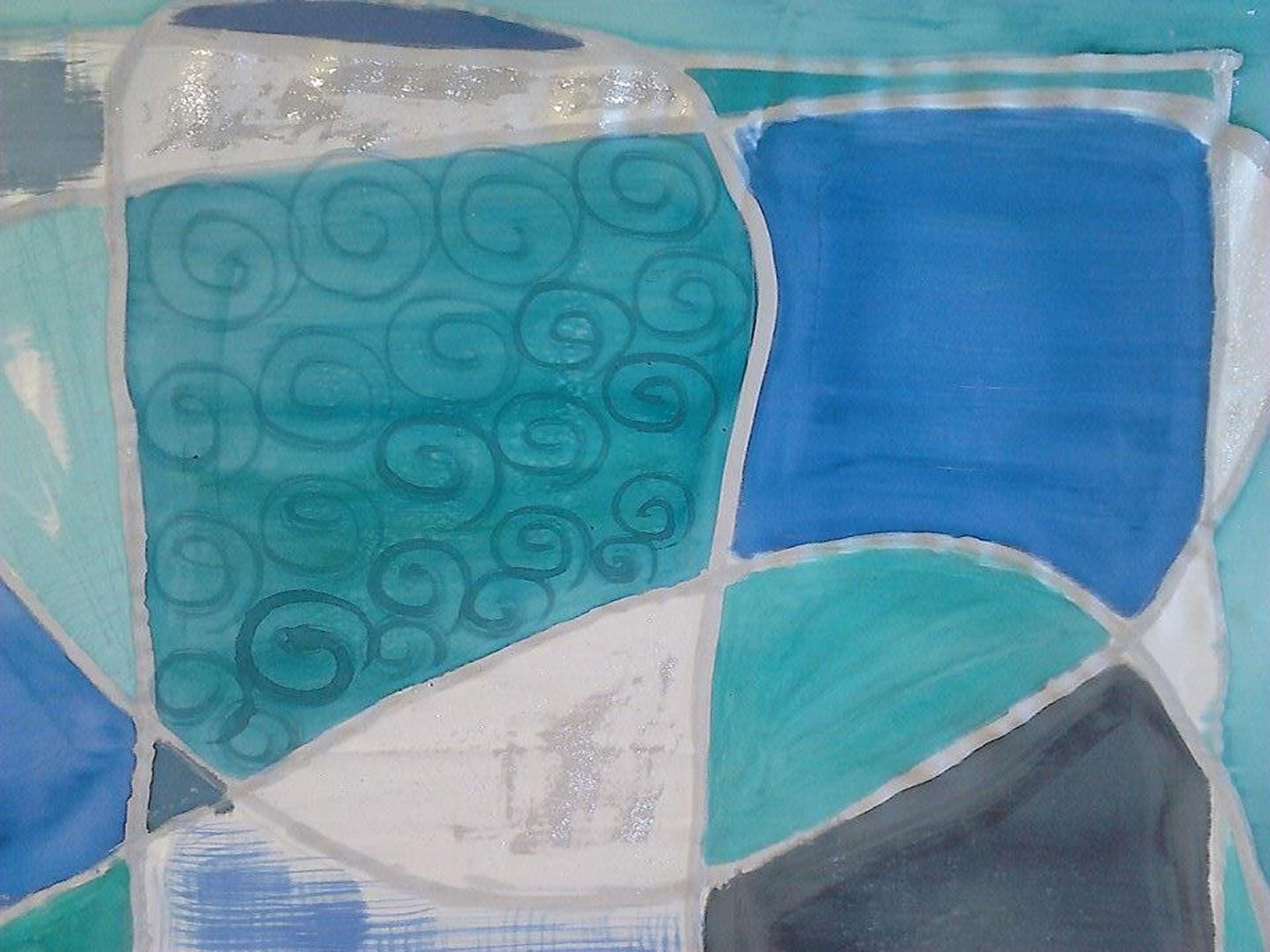 """Detalle roleos en pañuelo """"Luna en mar geometrício"""" azules y verdes, crepe satén 90 x 90 cm"""