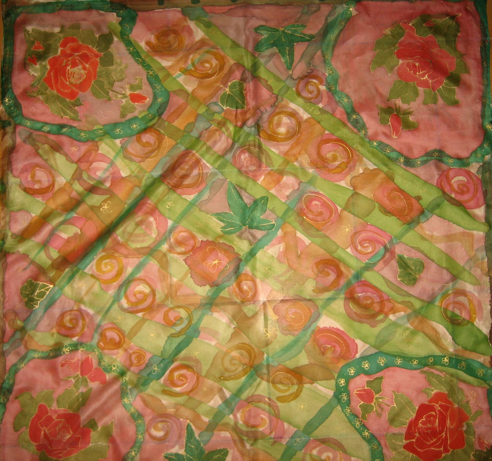 "Pañuelo ""Rosas"" pongé 90 x 90 cm"