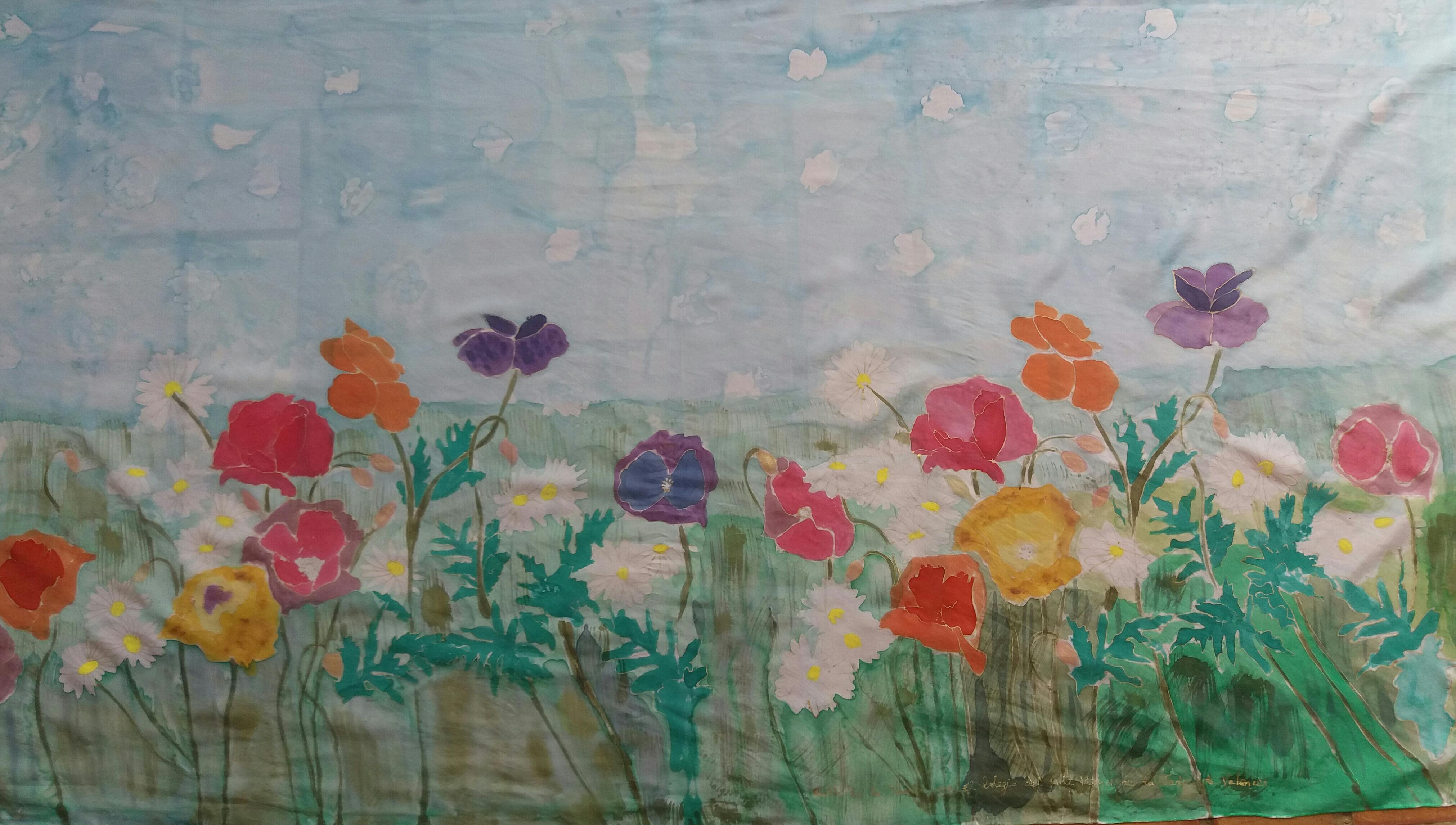 """Pareo """"Flores"""" crepe satén 2 m x 90 cm"""