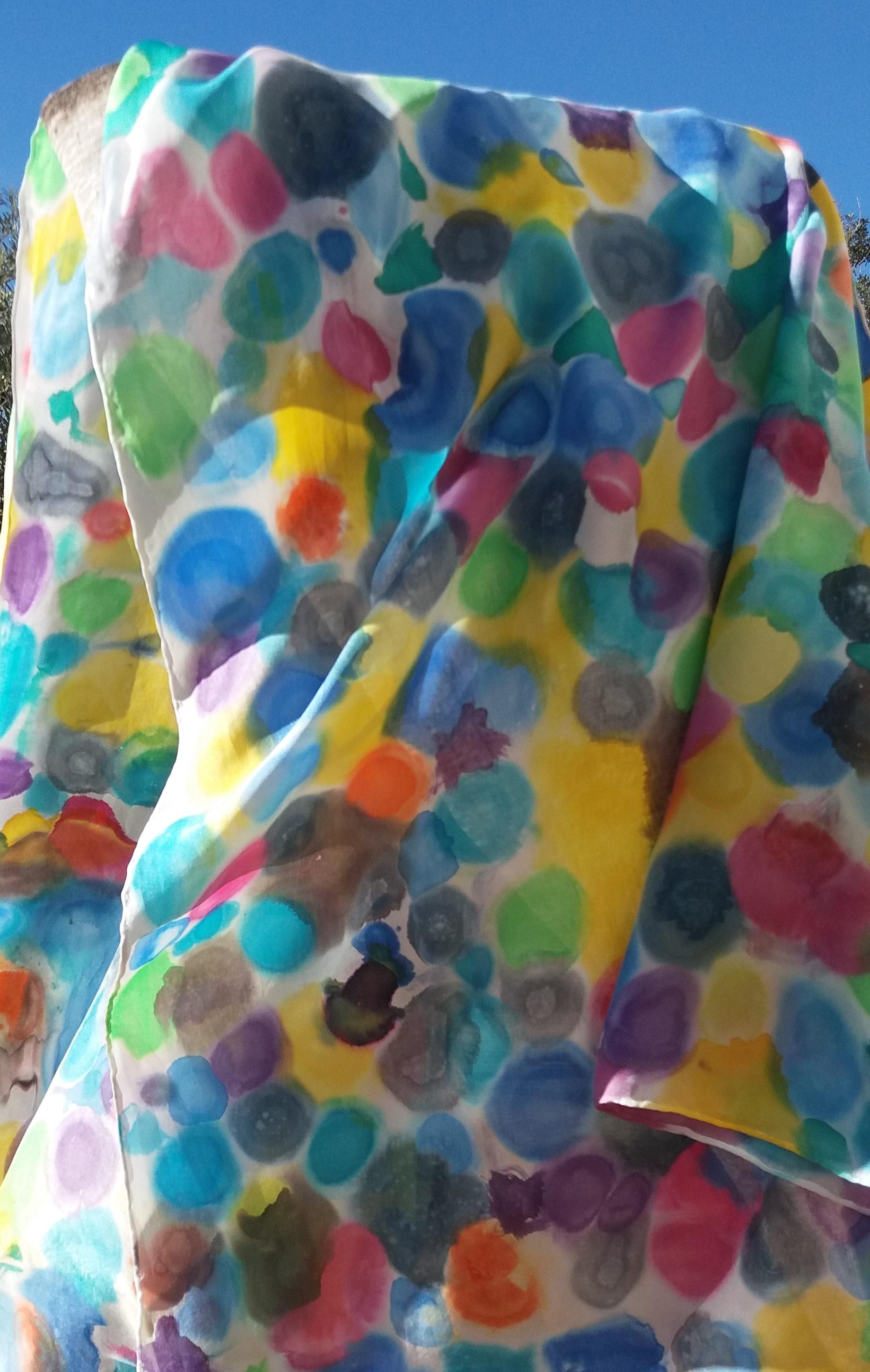 """Pareo """"Gotas de color"""" habotai 180 x 90 cm."""