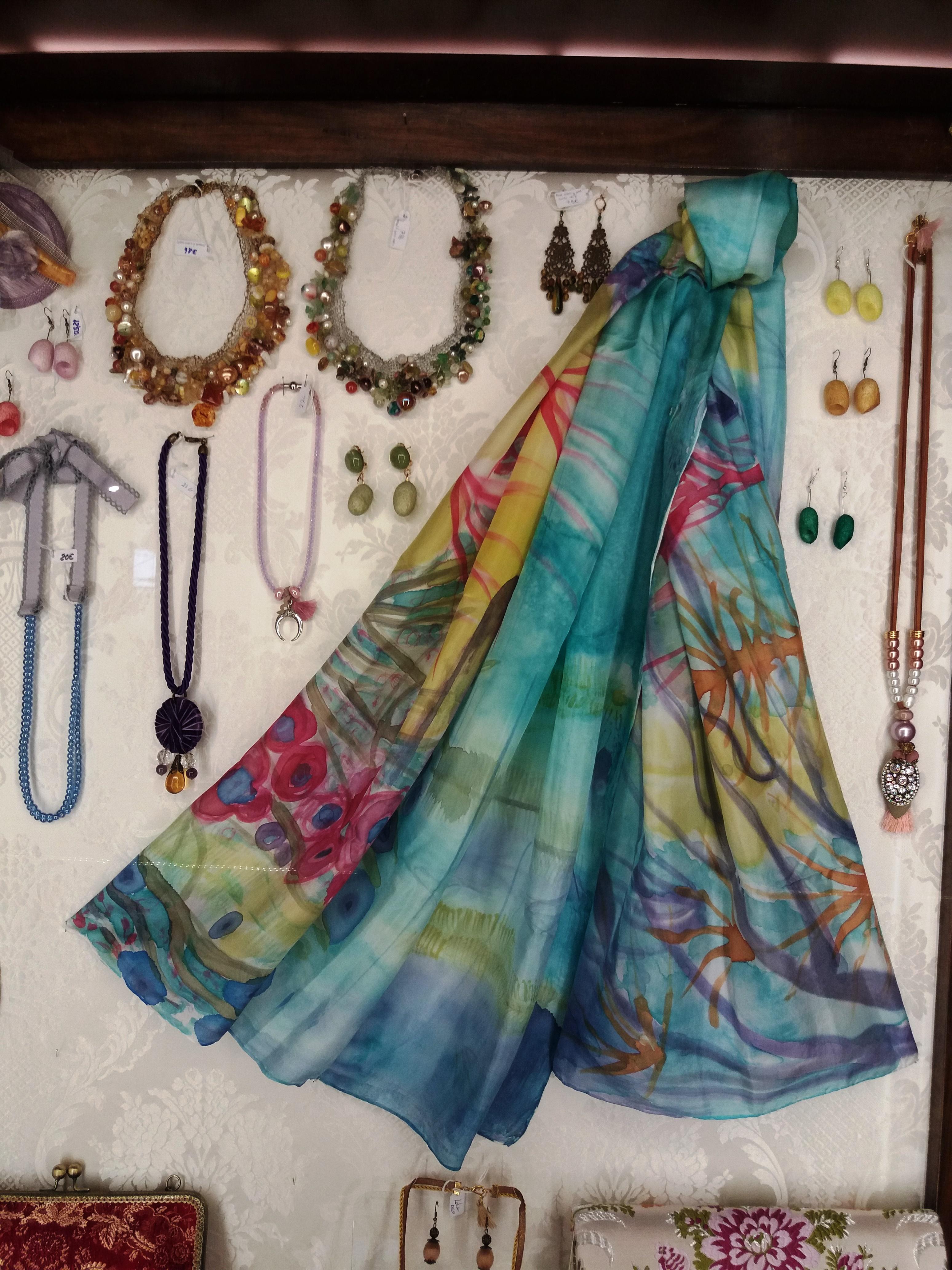 """Pareo """"El mar"""" en la tienda """"Espai seda"""" del del museo dela seda de valencia."""