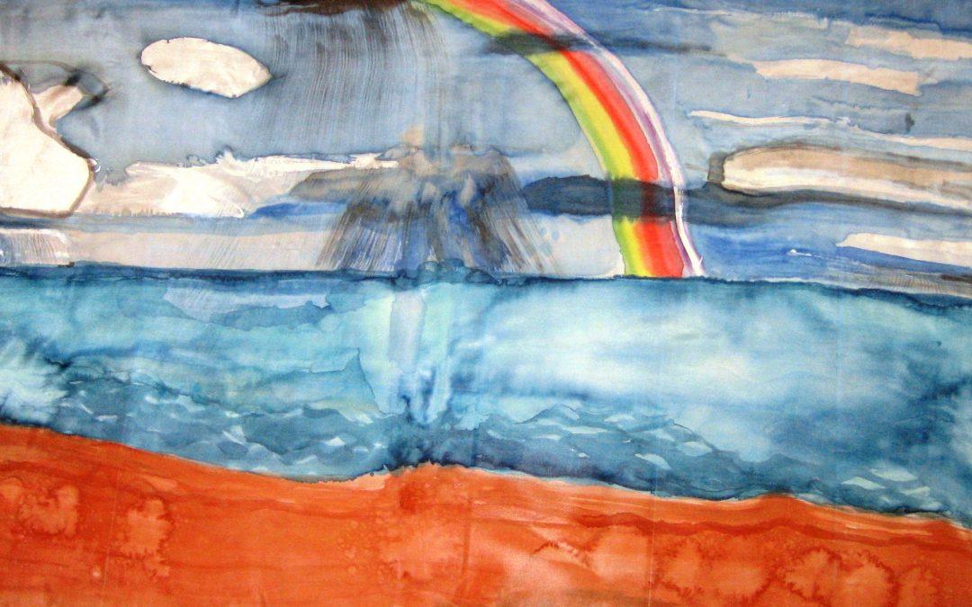 Nuevo pareo de seda habotai con el tema del mar