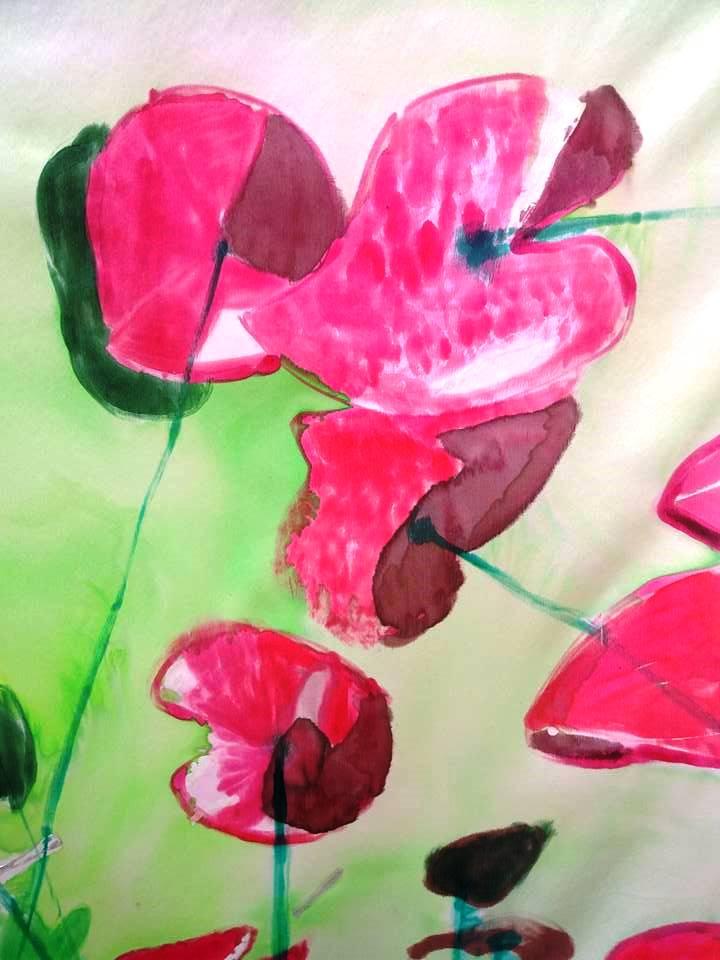 """Detalle del pañuelo """"Fondo del mar con flores rojas""""."""