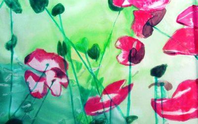 Nuevo pañuelo crepe satén 90 x 90 cm pintado con el tema del fondo del mar inspirado en la fotografía  «Opening to the underworld» por Christian Vizl