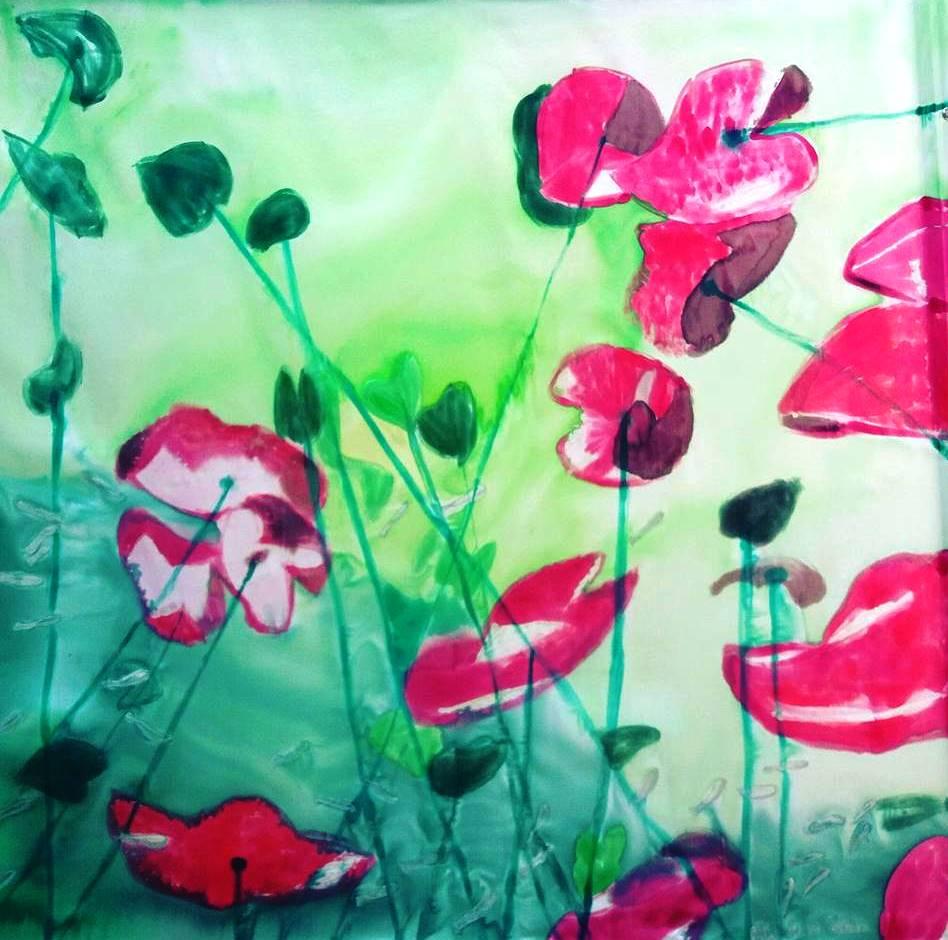 """Pañuelo crepe satén """"Fondo del mar con flores rojas""""inspirado en la fotografía Opening to the underworld por Christian Vizl (90 x 90 cm)"""
