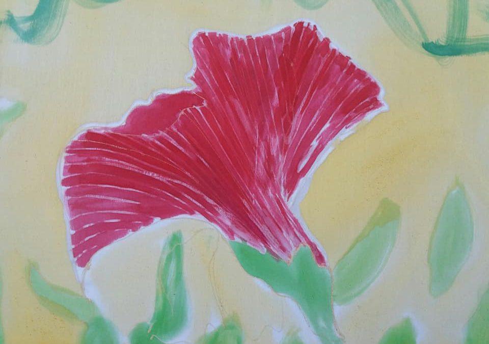 Fular de seda natural con motivos florales